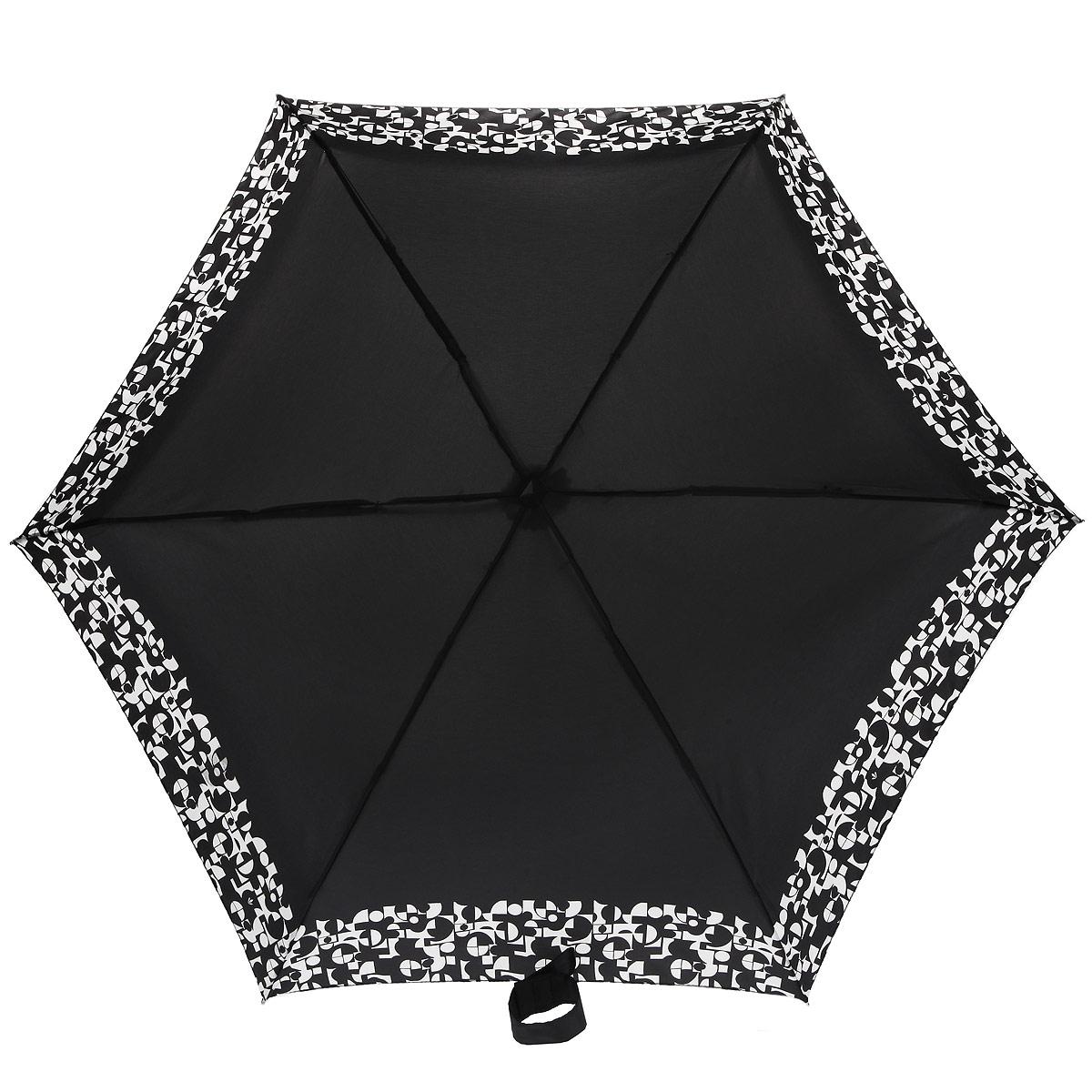 Зонт женский Fulton Tiny-2. Monochrome Mosaic, механический, 5 сложений, цвет: черный, белый. L501-2925Колье (короткие одноярусные бусы)Очаровательный механический зонт Tiny-2. Monochrome Mosaic в 5 сложений изготовлен из высокопрочных материалов. Каркас зонта состоит из 6 спиц и прочного алюминиевого стержня. Купол зонта выполнен из прочного полиэстера с водоотталкивающей пропиткой и оформлен оригинальным принтом. Рукоятка изготовлена из пластика.Зонт имеет механический механизм сложения: купол открывается и закрывается вручную до характерного щелчка.Небольшой шнурок, расположенный на рукоятке, позволяет надеть изделие на руку при необходимости. Модель закрывается при помощи хлястика на застежку-липучку. К зонту прилагается чехол.Прелестный зонт не только выручит вас в ненастную погоду, но и станет стильным аксессуаром, прекрасно дополнит ваш модный образ. Необыкновенно компактный зонт с легкостью поместится в маленькую сумочку.