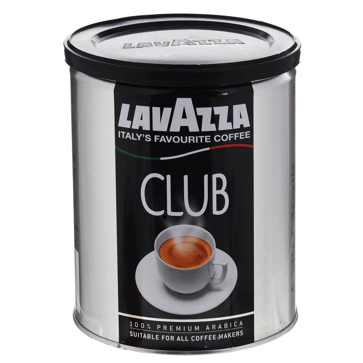 Lavazza Club кофе молотый, 250 г (ж/б)0120710Сырье для кофе Lavazza Club поступает с небольших южноамериканских плантаций.Кофе представляет собой купаж из стопроцентной арабики и обладает ярко выраженным вкусом, с немного горьковатым привкусом и приятным послевкусием.