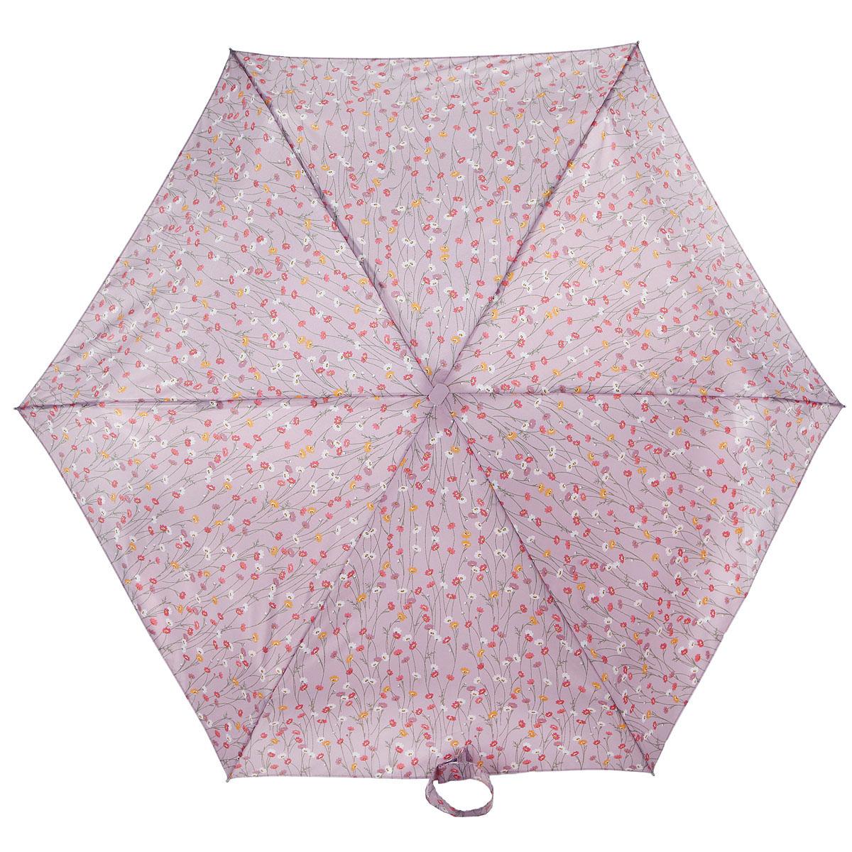 Зонт женский Fulton Tiny-2. Spring Fair, механический, 5 сложений, цвет: сиреневый. L501-2924П250071001-22Очаровательный механический зонт Tiny-2. Spring Fair в 5 сложений изготовлен из высокопрочных материалов. Каркас зонта состоит из 6 спиц и прочного алюминиевого стержня. Купол зонта выполнен из прочного полиэстера с водоотталкивающей пропиткой и оформлен рисунком в виде цветов. Рукоятка изготовлена из пластика.Зонт имеет механический механизм сложения: купол открывается и закрывается вручную до характерного щелчка.Небольшой шнурок, расположенный на рукоятке, позволяет надеть изделие на руку при необходимости. Модель закрывается при помощи хлястика на застежку-липучку. К зонту прилагается чехол.Прелестный зонт не только выручит вас в ненастную погоду, но и станет стильным аксессуаром, прекрасно дополнит ваш модный образ. Необыкновенно компактный зонт с легкостью поместится в маленькую сумочку