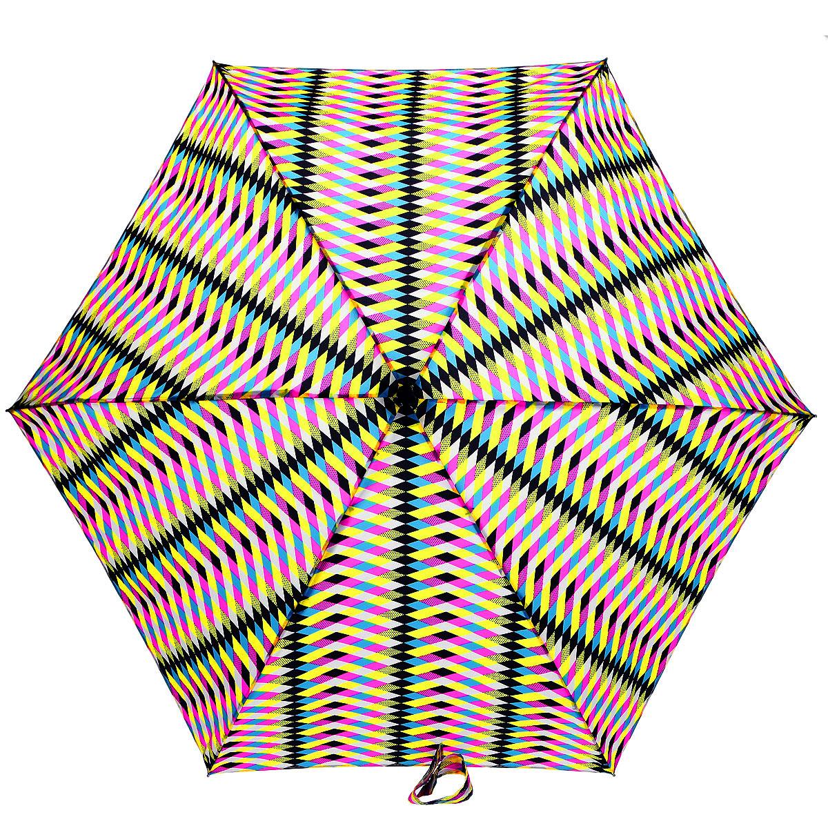 Зонт женский Fulton Lulu Guinness Tiny. Multi Milan, механический, 5 сложений, цвет: розовый, желтый, черный. L717-2957П250071001-22Очаровательный механический зонт Lulu Guinness Tiny. Multi Milan в 5 сложений изготовлен из высокопрочных материалов. Каркас зонта состоит из 6 спиц и прочного алюминиевого стержня. Купол зонта выполнен из прочного полиэстера с водоотталкивающей пропиткой и оформлен оригинальным принтом. Рукоятка изготовлена из пластика.Зонт имеет механический механизм сложения: купол открывается и закрывается вручную до характерного щелчка.Небольшой шнурок, расположенный на рукоятке, позволяет надеть изделие на руку при необходимости. Модель закрывается при помощи хлястика на кнопку. К зонту прилагается чехол.Прелестный зонт не только выручит вас в ненастную погоду, но и станет стильным аксессуаром, прекрасно дополнит ваш модный образ. Необыкновенно компактный зонт с легкостью поместится в маленькую сумочку.