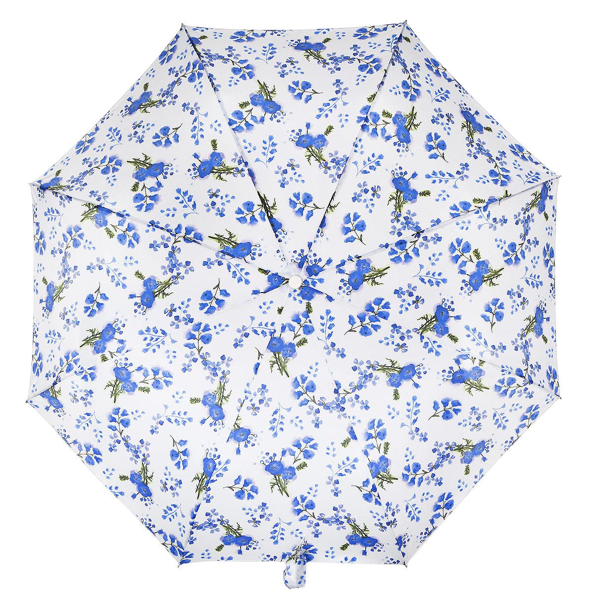 Зонт женский Fulton Minilite-2. Poppy Bloom, механический , 3 сложения, цвет: голубой, белый, зеленый. L354-2938П300020005-9Модный механический зонт Minilite-2. Poppy Bloom даже в ненастную погоду позволит вам оставаться стильной и элегантной. Каркас зонта состоит из 8 спиц из фибергласса и металлического стержня. Купол зонта выполнен из прочного полиэстера и оформлен узором в виде цветов. Изделие оснащено удобной рукояткой из пластика.Зонт механического сложения: купол открывается и закрывается вручную до характерного щелчка.Модель закрывается при помощи одного ремня с липучкой. Такой зонт не только надежно защитит вас от дождя, но и станет стильным аксессуаром, который идеально подчеркнет ваш неповторимый образ