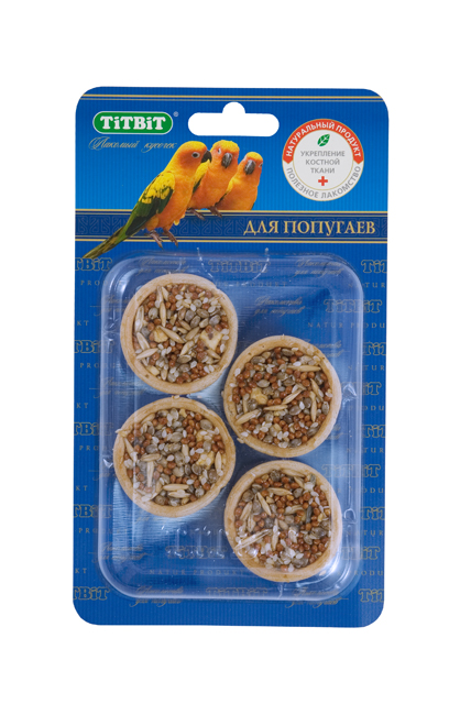 Лакомство для попугаев Titbit, тарталетки с яблоком и злаками, 4 шт0120710Тарталетки представляют собой корзиночки из хрустящего пресного теста с лакомой и полезной для птиц начинкой. Обогащают ежедневный рацион витаминами, макро – и микроэлементами. Продукт не содержит искусственных красителей и ароматизаторов. Входящие в состав продукта яблоки гармонично сочетают наиболее важные для здоровья птицы вещества, включая витамины, минералы, фруктовые кислоты, сахара и клетчатку. Яблоки положительно влияют на иммунную систему птиц.Состав: Мука 1 сорта, яблоко, кунжут, конопляное семя, овес, просо. Полезные вещества: сбалансированный витаминно-минеральный комплекс.