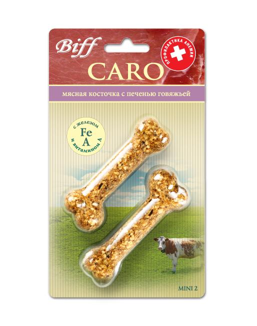 Лакомство для собак Biff Caro мясная косточка с говяжьей печенью, 2 шт40455Мясная косточка с печенью говяжьейдополнит рацион Вашего питомца витаминами,минеральными веществами, незаменимыми аминокислотами, жирорастворимыми соединениями. Железо и витамин А, входящие в состав косточки, способствуют профилактике анемии. Печень говяжья – источник витаминов (А, В1, В2, В5, В12) и кроветворных элементов (железа, меди, кобальта). Железо – основной микроэлемент, необходимый для синтеза гемоглобина крови, его недостаток ведёт к анемии. Витамин А улучшает поглощение железа из продуктов питания за счёт формирования с ним растворимых комплексов.Состав: кожа говяжья – 35%, кукуруза – 16%, печень говяжья – 15%, желудок говяжий – 11%, овёс – 10%, мясокостная мука - 7%, кишки говяжьи – 6%.Товар сертифицирован.