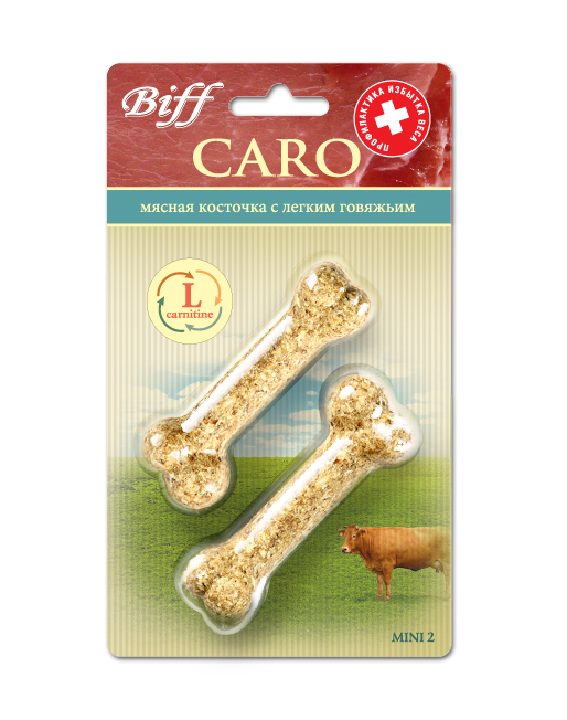 Лакомство для собак Biff Caro мясная косточка с говяжьим легким, 2 шт5158Мясная косточка с легким говяжьим и L-карнитином - идеальное лакомство для собак, склонных к полноте, а также рекомендуется кастрированным и стерилизованным животным. L-карнитин – аминокислота, которая поддерживает нормальный уровень жиров в различных органах и тканях, уменьшает их содержание в крови, улучшает энергетический баланс в организме и повышает выносливость.Состав: кожа говяжья – 35%, лёгкое говяжье – 24%, кукуруза – 13%, желудок говяжий – 11%, овёс – 10%, мясо-костная мука - 7%, кишки говяжьи – 6%, L-карнитин – 3%.Товар сертифицирован.