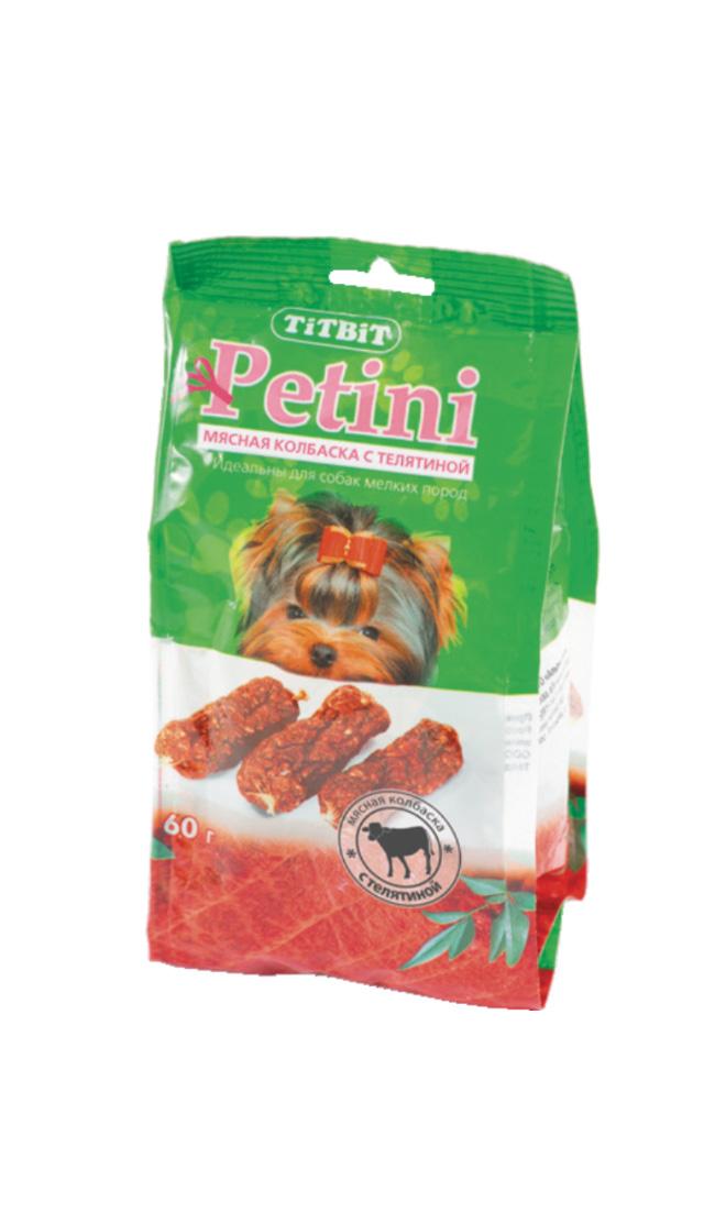 Лакомство для собак Titbit Petini, колбаски, с телятиной, 60 г0120710Titbit Petini - вкусное и полезное лакомство для собак. Телятина и телячьи субпродукты являются источником полноценных животных белков и содержат уникальные пищевые ферменты, жизненно необходимые для правильной работы пищеварительной системы.Состав: мясо (телятина) и мясные субпродукты (не менее 92%), кукуруза,минеральные веществаТовар сертифицирован.