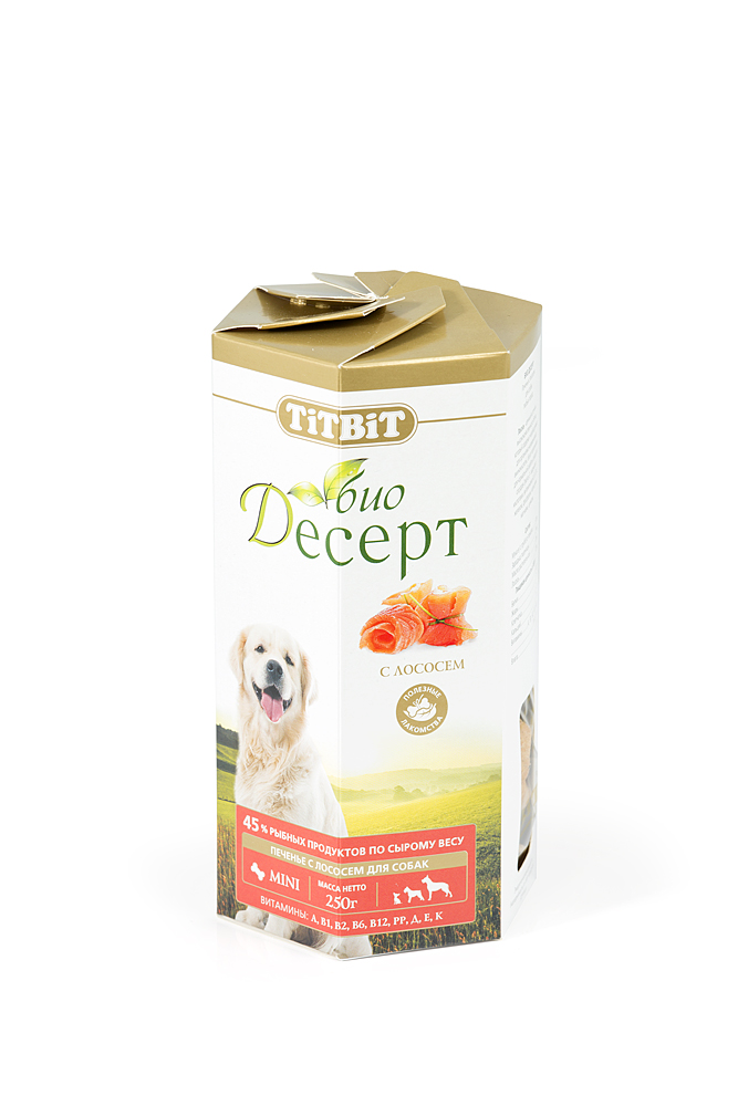 Лакомство для собак Titbit Био Десерт, печенье с лососем2978Лосось является ценным источником высококачественного белка, который содержит необходимые для организма незаменимые аминокислоты. В мире не так много продуктов, богатых полезными для нормальной работы сердца и сосудов Омега-3 - жирными кислотами. В лососе же они содержатся в избытке, также как и витамины A, B, D, E, железо, фосфор, кальций, магний, цинк, селен. Состав: Мука в/с грубого помола57%, пшеничный зародыш23%, растительное масло10%, лосось10%.