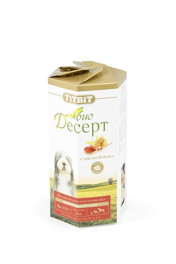 Лакомство для собак Titbit Био Десерт, печенье с мясом ягненка, 250 г0120710Лакомство для собак Titbit Био Десерт изготовлено по новой технологии производства и имеет специально подобранный состав для поддержания нормального функционирования желудочно-кишечного тракта, иммунной системы, а также для стимулирования естественной регенерации здоровых клеток. Не содержит искусственных красителей и ароматизаторов. Уникальная структура лакомства способствует укреплению десен и снижает риск образования зубного камня.Мясо ягненка - это источник гипоаллергеного, высококачественного протеина животного происхождения, который легко усваивается и необходим при заживлении ран и переломах костей. Аромат баранины очень нравится собакам, поэтому лакомство удобно применять для дрессуры. Вещества, такие как цинк, витамин В12 и железо (2,6 мг/100г), благотворно влияют на умственную деятельность животного. В мясе ягненка содержатся так же витамин РР(5,4 мг/100г), который участвует в усвоении белков, жиров и углеводов, поступающих извне. Характеристики:Состав:мука в/с грубого помола - 53%, пшеничный зародыш - 17%, растительное масло - 10%, мясо ягненка - 9%, диетический рубец - 7%, мед - 4%.Пищевая ценность в 100 г:белок 14 г; жир 13 г; клетчатка 1 г; зола 1 г; влага 7 г.Энергетическая ценность на 100 г:433 ккал. Вес:250 г. Размер упаковки:18 см х 10 см х 10 см. Продукция торговой марки Titbit хорошо известна любителям домашних животных не только в России, но и за рубежом, и завоевала их искреннее доверие. Широкий ассортимент товаров (более 600 наименований) включает натуральные сушеные и прессованные лакомства, консервированные корма, мясную выпечку, комбинированные игрушки с лакомствами (не имеющие аналогов на рынке!), косметику (шампуни и кондиционеры), а также аксессуары (автогамаки для собак). Среди такого разнообразия хозяева собак, кошек, хорьков, птиц, грызунов и кроликов всегда найдут продукт, максимально соответствующий индивидуальным особенностям их питомцев. Лакомства Titbit п