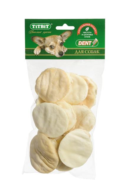 Лакомство для собак Titbit, галеты из говяжьей кожи, 80 г0120710Лакомство для собак Titbit - это высушенная в форме галеты говяжья кожа. Лакомство благодаря большому содержанию аминокислот и коллагена положительно воздействует на хрящевую ткань, состояние кожи и шерсти собаки. Благодаря волокнистой структуре является своеобразной зубной щеткой, способствующей укреплению десен, удалению зубного налета и профилактике образования зубного камня. Состав: высушенная говяжья кожа.Товар сертифицирован.