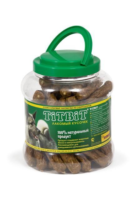 Лакомство для собак Titbit Шпикачки, 4,3 л0120710Лакомство для собак Titbit Шпикачки изготовлены из говяжьего мяса и мясных субпродуктов по колбасной технологии с добавлением зерновых. Натуральный продукт, который не содержит красителей и консервантов.Состав:мясо и мясные субпродукты (более 85%), кукуруза,минеральные вещества.