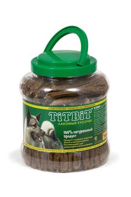 Лакомство для собак Titbit Салямки, 4,3 л6549Колбаски для собак Titbit Салямки изготовлены из говяжьего мяса и мясных субпродуктов по колбасной технологии с добавлением зерновых.Натуральный продукт, который не содержит красителей и консервантов.Состав: Мясо и мясные субпродукты (более 85%), кукуруза, минеральные вещества.