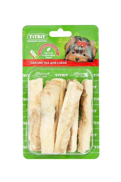 Лакомство для собак Titbit, соломка из говяжьей кожи7602Лакомство для собак Titbit - это высушенная нарезанная соломкой говяжья кожа. Благодаря большому содержанию аминокислот и коллагена положительно воздействует на хрящевую ткань, состояние кожи и шерсти собаки. Благодаря волокнистой структуре являются своеобразной зубной щеткой, способствующей укреплению десен, удалению зубного налета и профилактике образования зубного камня.Состав: высушенная говяжья кожа.Товар сертифицирован.