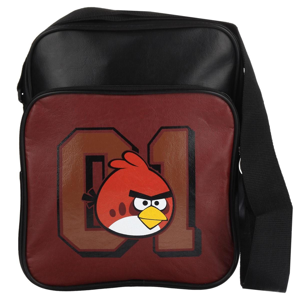 Сумка Angry Birds Красная птица, цвет: черный, бордовый. 8481317986Сумка молодёжная Angry Birds Красная птица сочетает в себе современный дизайн, функциональность и долговечность. Сумка выполнена из кожзаменителя и содержит одно вместительное отделение, застегивающееся на застежку-молнию. Внутри имеется дополнительный карман-разделитель на молнии.На лицевой стороне сумки находятся карман на застежке-молнии. Внутри имеется нашивной карман и фиксаторы для пишущих принадлежностей. На задней стороне сумка имеет дополнительный карман на молнии.Сумка оснащена плечевым ремнем, регулируемой длины.