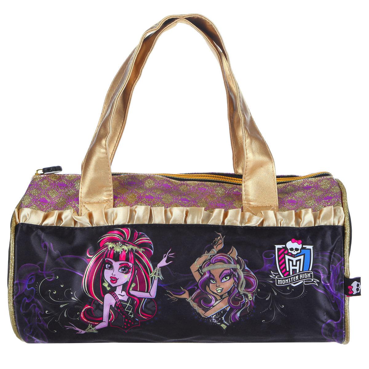 Сумочка детская Monster High. 8531472523WDСтильная детская сумочка Monster High, оформленная изображением героинь известного мультсериала Школа Монстров, несомненно, понравится вашей малышке.Сумочка имеет одно отделение, закрывающееся на застежку-молнию, куда можно положить все необходимые принадлежности и аксессуары, и две небольшие ручки золотистого цвета, выполненные из искусственной кожи. Внутри сумки расположен накладной карман для мобильного телефона. Сумочка декорирована атласными золотыми рюшами, а также вставкой из ПВХ, украшенной узорами с блестками. Бегунок молнии декорирован резиновым элементом в виде черепа. Высота ручек 18 см.Каждая поклонница Школы Монстров будет в восторге от такого аксессуара!