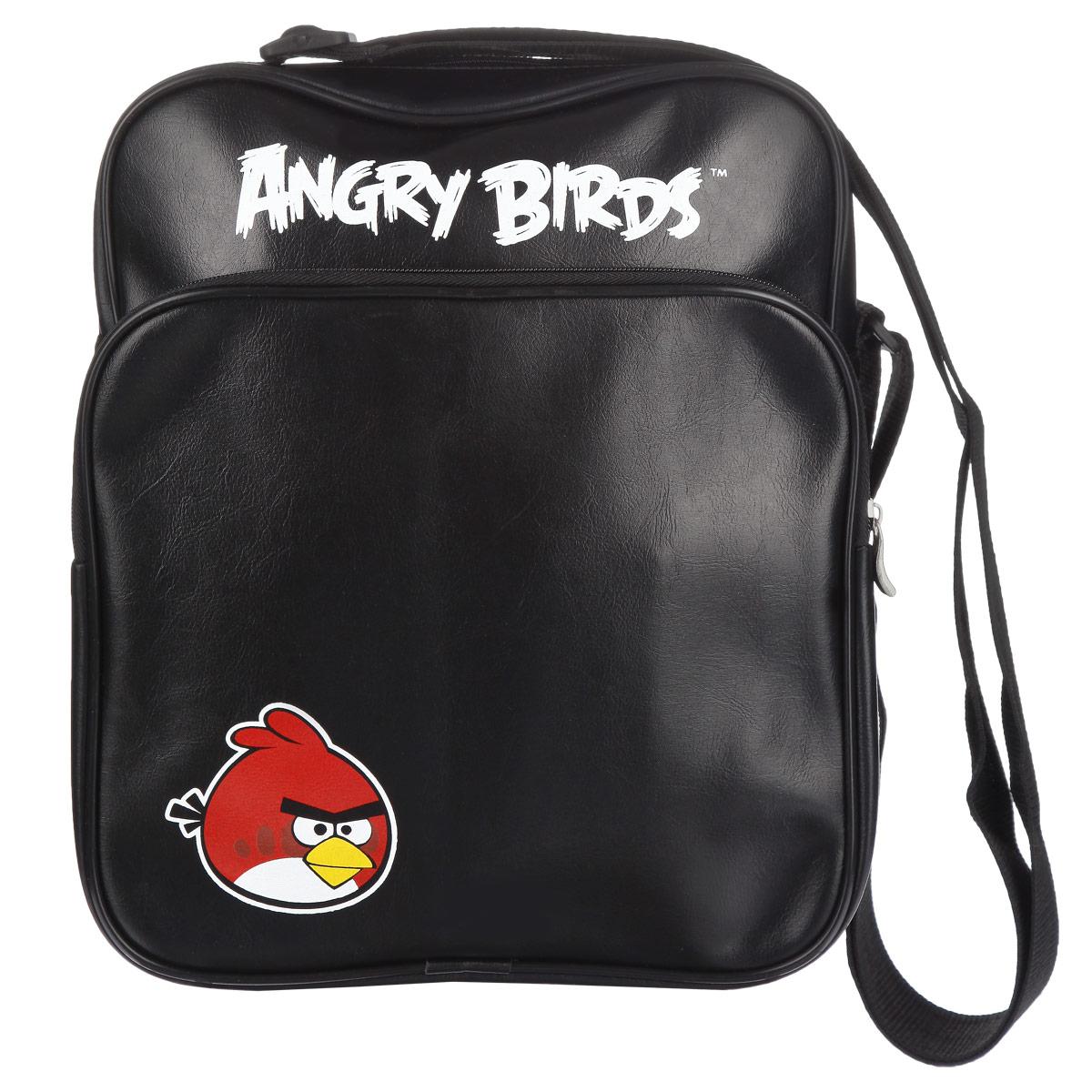 Сумка Angry Birds Красная птица, цвет: черный. 84812NRk_17091Сумка молодёжная Angry Birds Красная птица сочетает в себе современный дизайн, функциональность и долговечность. Сумка выполнена из кожзаменителя и содержит одно вместительное отделение, застегивающееся на застежку-молнию. Внутри имеется дополнительный карман-разделитель на молнии.На лицевой стороне сумки находятся карман на застежке-молнии. Внутри имеется нашивной карман и фиксаторы для пишущих принадлежностей. На задней стороне сумка имеет дополнительный карман на молнии.Сумка оснащена плечевым ремнем, регулируемой длины.