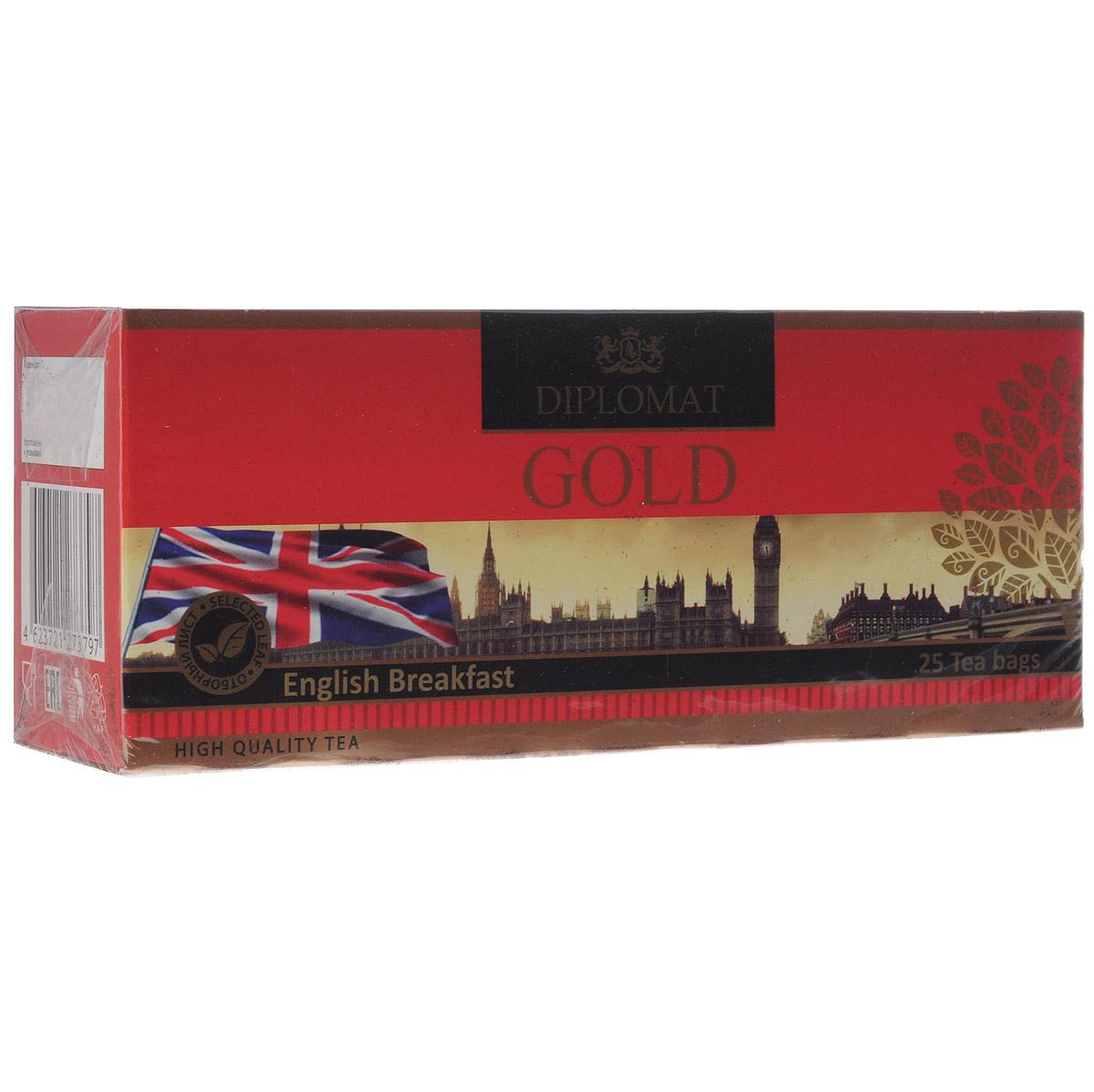 Diplomat English Breakfast черный чай в пакетиках, 25 шт.0120710За чашкой этого чая, ощущения перенесут Вас в старую добрую Англию, окунув в атмосферу неторопливой светской беседы английской аристократии. Яркий рубиновый прозрачный настой, аромат приятный с цветочно-медовыми нотками, вкус нежный, сладковато-терпкий.