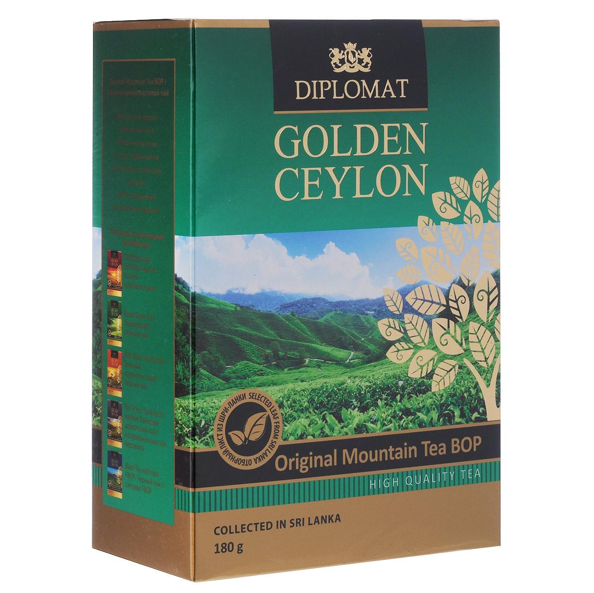 Diplomat Original Mountain Tea BOP черный листовой чай, 180 г0120710Популярный черный цейлонский чай Diplomat Original Mountain Tea BOP с отборным ломаным листом, собранным на высокогорных плантациях о.Цейлон. Имеет насыщенный крепкий вкус и аромат.