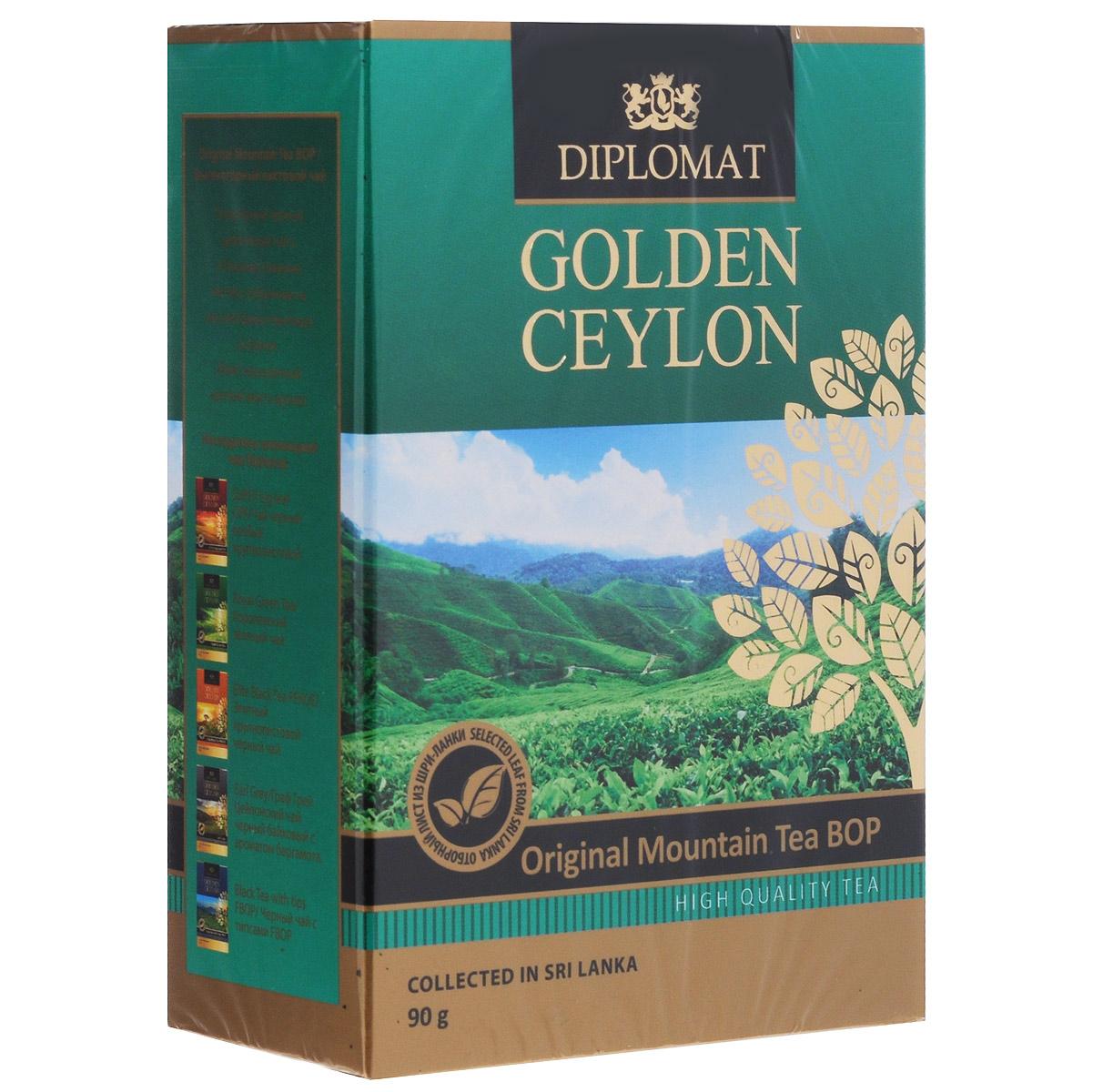 Diplomat Original Mountain Tea BOP черный листовой чай, 90 г4623721180606Популярный черный цейлонский чай Diplomat Original Mountain Tea BOP с отборным ломаным листом, собранным на высокогорных плантациях о.Цейлон. Имеет насыщенный крепкий вкус и аромат.