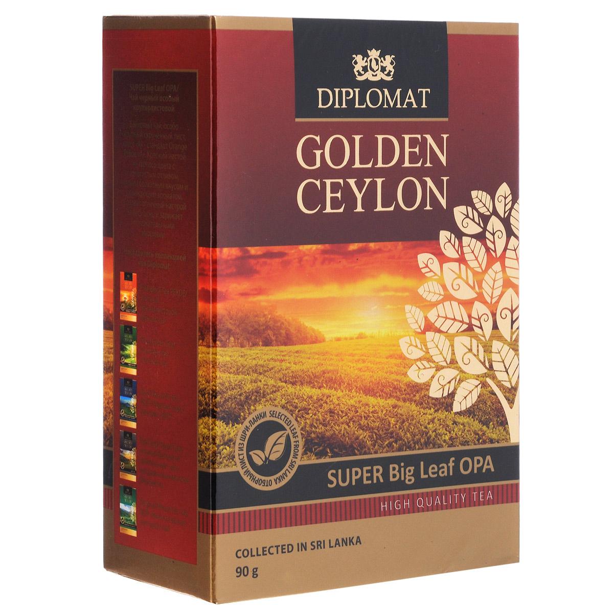 Diplomat Super Big Leaf OPA черный крупнолистовой чай, 90 г0120710Байховый чай Diplomat Super Big Leaf OPAотличается особо крупным скрученным листом - стандартом Orange Pekoe «А». Крепкий настой янтарного цвета с золотистым отливом, мягким бархатным вкусом и освежающим ароматом создает отличный настрой на весь день и заряжает положительными эмоциями.