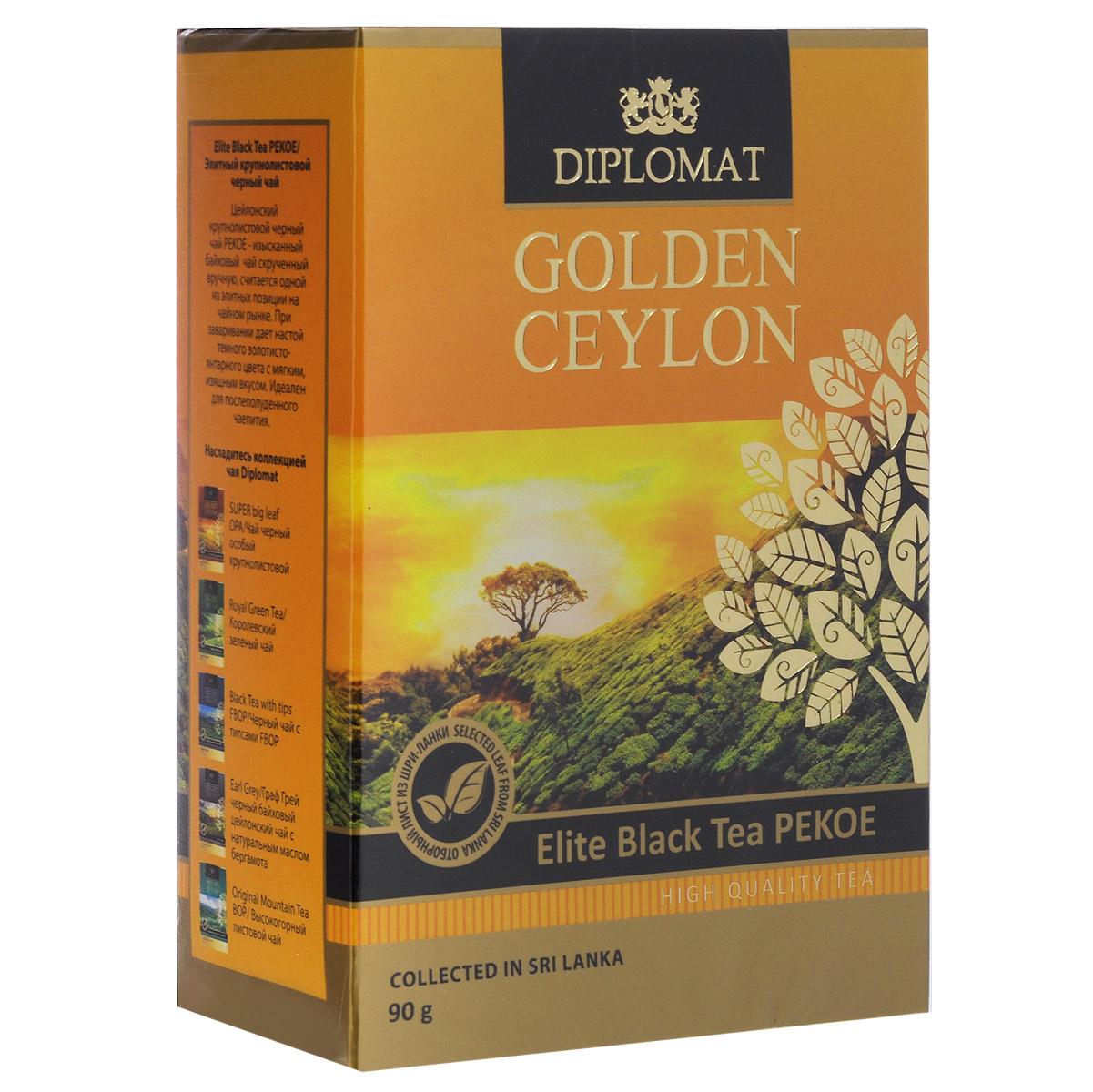 Diplomat Elite Black Tea PEKOE черный крупнолистовой чай, 90 г0435-10Diplomat Elite Black Tea PEKOE - изысканный байховый чай скрученный вручную, считается одной из элитных позиции на чайном рынке. При заваривании дает настой темного золотисто-янтарного цвета с мягким, изящным вкусом. Идеален для послеполуденного чаепития.