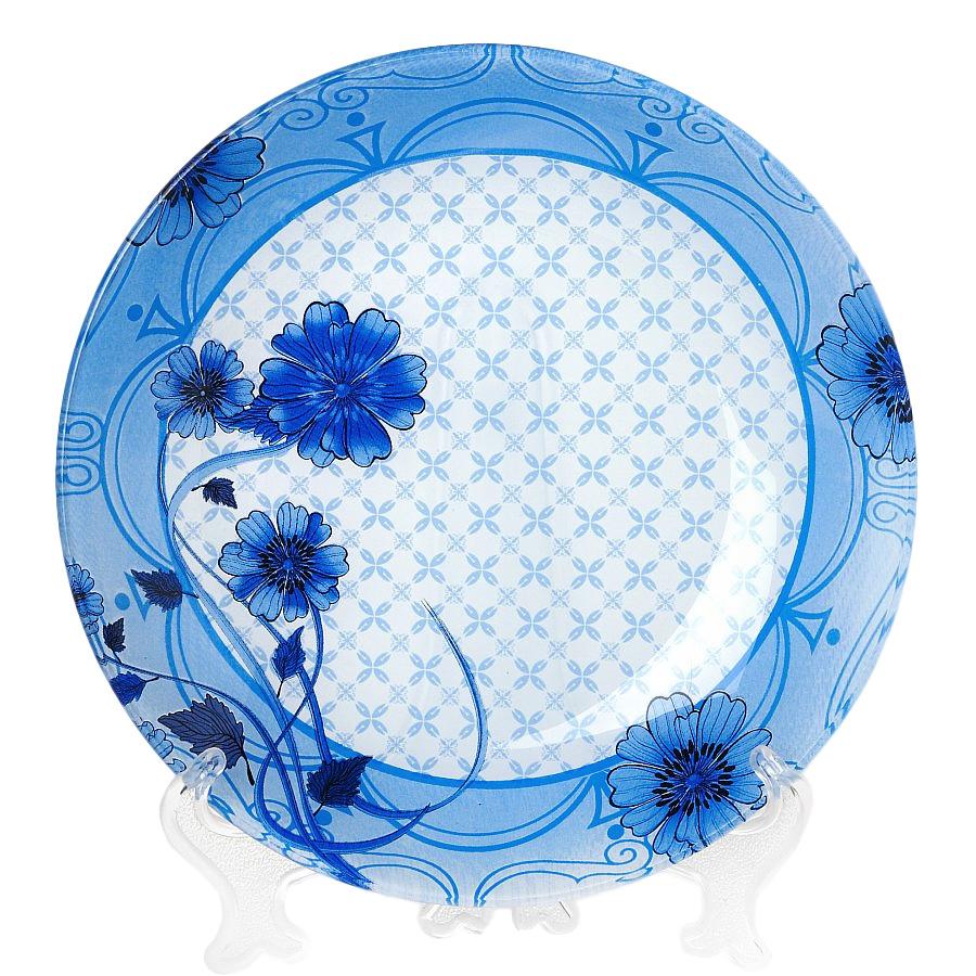 Тарелка House & Holder Васильки, диаметр 23 см54 009312Круглая тарелка House & Holder Васильки, изготовленная из стекла, декорирована ярким изображением. Такая тарелка украсит сервировку вашего стола и подчеркнет прекрасный вкус хозяина, а также станет отличным подарком. Диаметр: 23 см. Высота: 1,9 см.