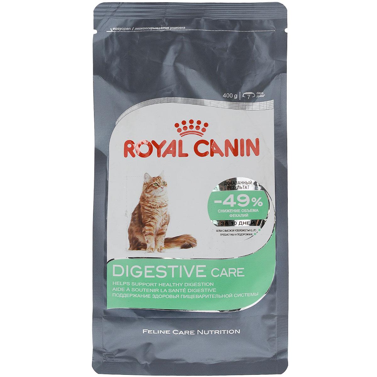 Корм сухой Royal Canin Digestive Care, для взрослых кошек с чувствительным пищеварением, 400 г0120710Сухой корм Royal Canin Digestive Care - это полнорационный сбалансированныйкорм для кошек с расстройствами пищеварительной системы. По своей природе кошки регулярно потребляют небольшое количество пищи в течение дня. Однако, некоторые из них способны съесть достаточно большую порцию за короткое время, что может привести к пищеварительному расстройству и срыгиванию.Специальные крокеты разработаны для того, чтобы стимулировать тщательное пережевывание корма и предотвратить его заглатывание, что предотвратит срыгивание пищи.Формула специально разработана для того, чтобы способствовать оптимальному усвоению продукта и облегчить процесс пищеварения. В дальнейшем это приведет к уменьшению объема фекалий.Уход за ЖКТ-это точно сбалансированная питательная формула, которая помогает поддерживать здоровье пищеварительной системы.С двойным действием: - Легко усваивается: пищеварительная формула содержит белки чрезвычайно высокой усвояемости (L.I.P). В его основе лежит смесь пребиотиков (ФОС: фрукто-олиго-сахаридов) и волокон (в том числе подорожника). Эти компоненты способствуют оптимальному усвоению продукта и регулируют транзит пищи по кишечнику кошки. - Благодаря уникальной текстуре и форме крокет кошка тщательнее разгрызает корм, а не заглатывает его целиком, что позволяет увеличить время приема пищи. Тщательное разжевывание помогает сократить риск срыгивания и подготавливает пищу к перевариванию.Доказанные результаты: Объем фекалий снижается на 49% через 10 дней при кормлении исключительно продуктом DIGESTIVE CARE, благодаря улучшению пищеварения и усвоения питательных веществ.Содержит баланс минералов для поддержания здоровья мочевыводящих путей взрослой кошки. Состав: изолят растительного белка, пшеничная мука, рис, обезвоженная рыба, животные жиры, дегидратированный белок мяса птицы, гидролизат белков животного происхождения, кукурузный глютен, кукурузная мука, раститель