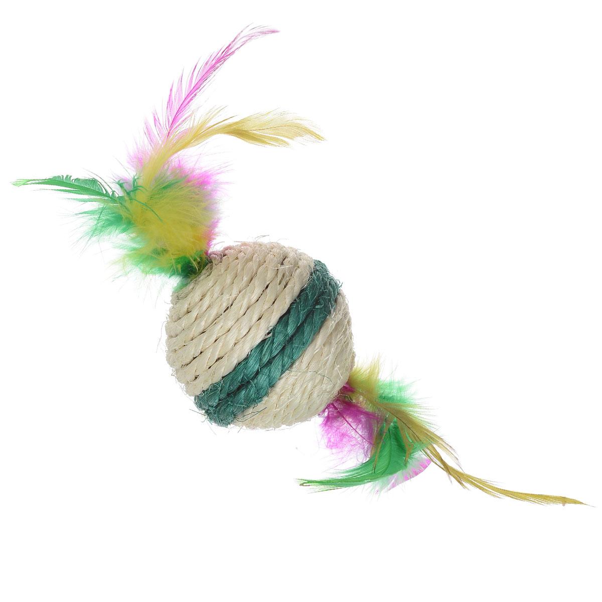 Игрушка-когтеточка Triol Шарик с перьями, цвет: зеленый, диаметр 6 смМДС3Игрушка-когтеточка Triol Шарик с перьями выполнена из сизаля и украшена разноцветными перьями. Внутри игрушки находится погремушка.Всем кошкам необходимо стачивать когти. Когтеточка - один из самых необходимых аксессуаров для кошки. Для приучения к когтеточке можно натереть ее сухой валерьянкой или кошачьей мятой.Игрушка-когтеточка Triol Шарик с перьями поможет вашему любимцу стачивать когти и при этом не портить вашу мебель.Диаметр игрушки: 6 см.
