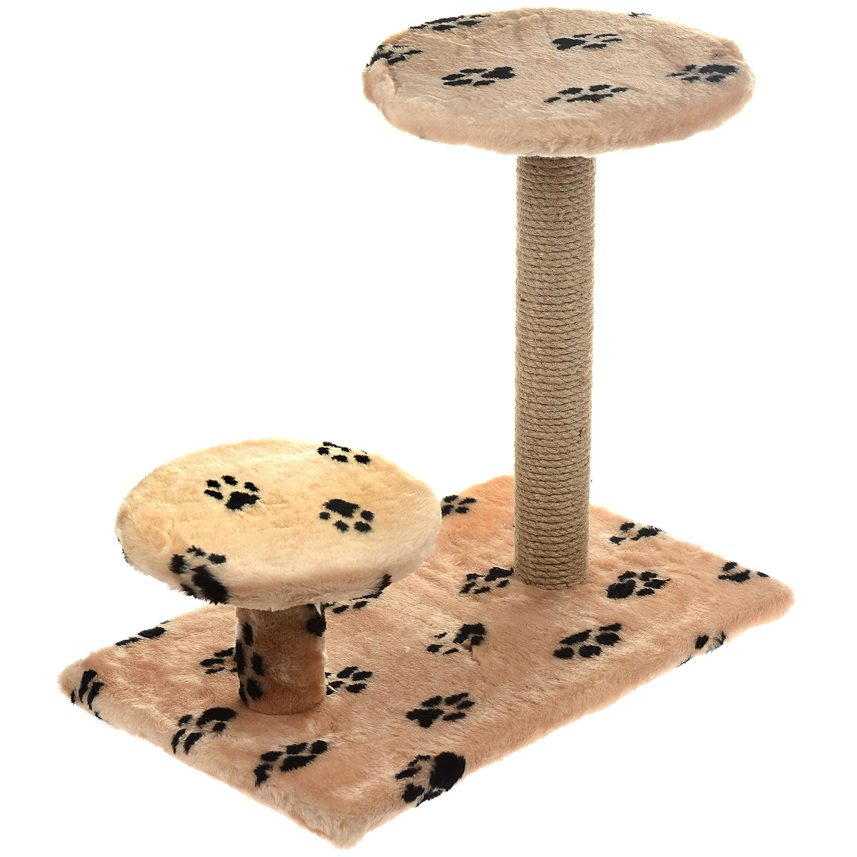 Когтеточка Пушок, с круглой площадкой и ступенькой, цвет: бежевый, 62 х 58 х 38 см0120710Когтеточка Пушок поможет сохранить мебель и ковры в доме от когтей вашего любимца, стремящегося удовлетворить свою естественную потребность точить когти. Когтеточка изготовлена из джута, прямоугольное основание выполнено из ДСП и обтянуто искусственным мехом. Изделие оснащено круглой площадкой и ступенькой. Товар продуман в мельчайших деталях и, несомненно, понравится вашей кошке. Всем кошкам необходимо стачивать когти. Когтеточка - один из самых необходимых аксессуаров для кошки. Для приучения к когтеточке можно натереть ее сухой валерьянкой или кошачьей мятой. Когтеточка поможет вашему любимцу стачивать когти и при этом не портить вашу мебель.