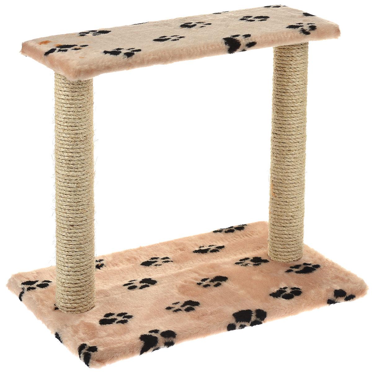 Когтеточка Пушок Двойная, сизаль, цвет: бежевый, 62 см х 55 см х 38 см12171996Когтеточка Пушок Двойная поможет сохранить мебель и ковры в доме от когтей вашего любимца, стремящегося удовлетворить свою естественную потребность точить когти. Когтеточка изготовлена из сизаля, прямоугольное основание выполнено из ДСП и обтянуто плюшем. Когтеточка декорирована изображением черных следов. Сверху два столба-когтеточки соединены площадкой. Товар продуман в мельчайших деталях и, несомненно, понравится вашей кошке. Всем кошкам необходимо стачивать когти. Когтеточка - один из самых необходимых аксессуаров для кошки. Для приучения к когтеточке можно натереть ее сухой валерьянкой или кошачьей мятой. Когтеточка поможет вашему любимцу стачивать когти и при этом не портить вашу мебель.