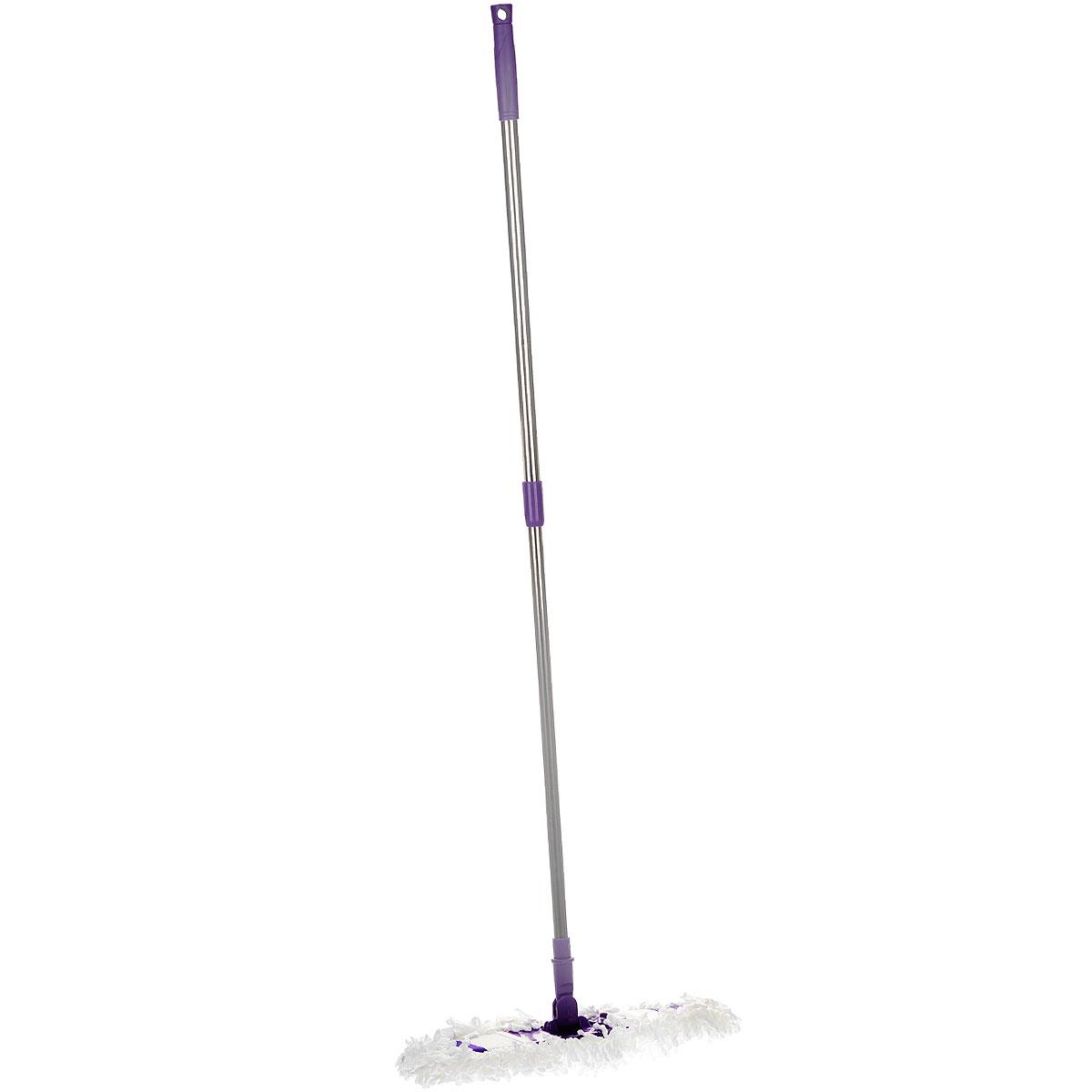 Швабра Фэйт Флаундер-4, с телескопической ручкой и сменной насадкой, цвет: сиреневый, 70-125 см531-105Швабра Фэйт Флаундер-4 предназначена для сухой и влажной уборки в доме.Сменная насадка выполнена из микрофибры, которая впитывает воду и грязь подобно губке. Такая насадка позволит вам использовать во время уборки меньшее количество чистящих средств. Она подходит для всех видов гладких полов из плитки, паркета, ламината и камня.Швабра оснащена удобной металлической телескопической ручкой с подвижной частью и фиксацией, которая позволяет использовать ее в труднодоступных местах. На конце ручки имеется специальная петля, благодаря которой швабру можно подвесить в любом удобном месте.Платформа швабры выполнена из высокопрочного пластика. Платформа может двигаться под любым углом, на любой плоскости. Подвижная платформа позволяет вымыть полы, не отодвигая крупногабаритную мебель, протереть стены от пыли за шкафами. Также такой шваброй очень удобно и легко протирать потолки.Длина ручки: 70-125 см.Размер рабочей части: 40 см х 12 см.