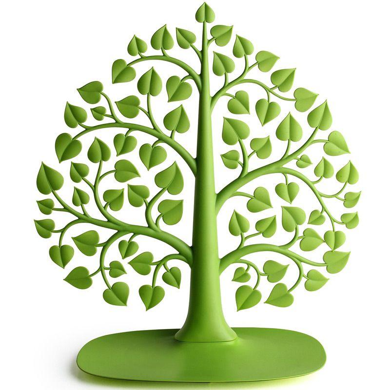 Держатель для украшений Bodhi Дерево, цвет: зеленый, 33 х 15 х 37 см11823Оригинальный держатель для украшений Bodhi Дерево выполнен из прочного гибкого пластика в виде дерева с ветками и листвой. Все, что нужно - просто поместить на ветки кулоны, серьги, клипсы, браслеты - и вы сможете находить их за три секунды. А тяжелые часы или массивные украшения можно сложить в поддон у основания органайзера. Благодаря своей практичности и необычности держатель Bodhi Дерево станет не только идеальным подарком представительнице прекрасного пола, но и изысканным украшением интерьера.