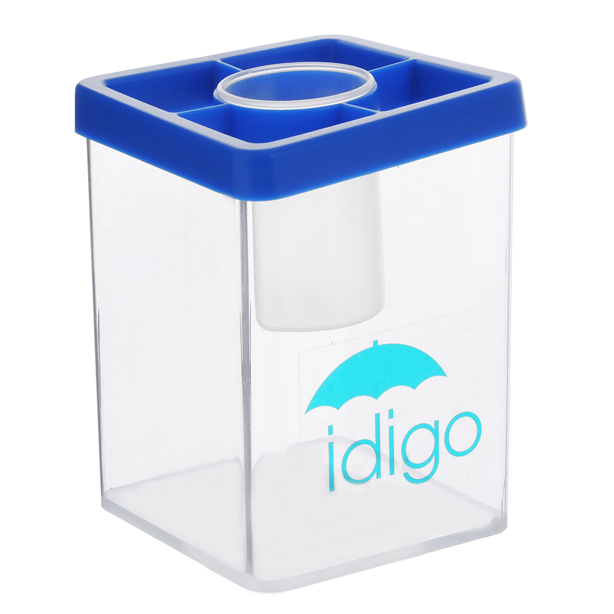 Многофункциональная подставка-стакан Idigo, цвет: синий51000586/sa951Многофункциональная подставка-стакан Idigo станет незаменимым атрибутом на письменном столе ребенка. Она идеально подходит для мытья кистей во время рисования. Кроме того, удобный стакан может быть использован для хранения кистей, карандашей, ручек и фломастеров. А благодаря небольшой круглой баночке, расположенной в центре стакана, скрепки, кнопки и ластики не потеряются.