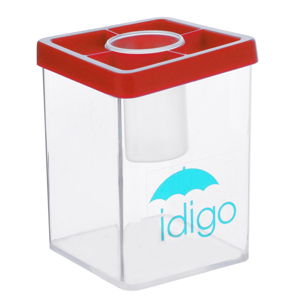 Многофункциональная подставка-стакан Idigo, цвет: красный24297Многофункциональный стакан из пластика Idigo станет незаменимым атрибутом на письменном столе ребенка. Он идеально подходит для мытья кистей во время рисования. Кроме того, удобный стакан может быть использован для хранения кистей, карандашей, ручек и фломастеров. А благодаря небольшой круглой баночке, расположенной в центре стакана, скрепки, кнопки и ластики не потеряются.