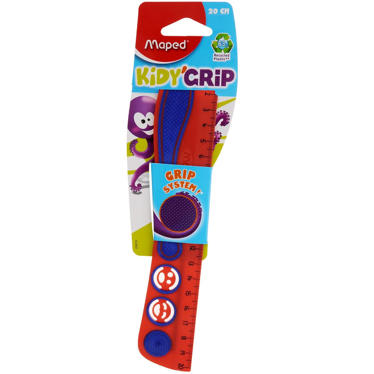 Линейка Maped Кidi Grip, нескользящая, 20 см, цвет: красный, фиолетовыйFS-36052Линейка Maped Кidi Grip удобна в использовании благодаря резиновой вставке, которая препятствует ее скольжению по бумаге. Необычная линейка длиной 20 см дополнена забавными трафаретами в виде смайликов.