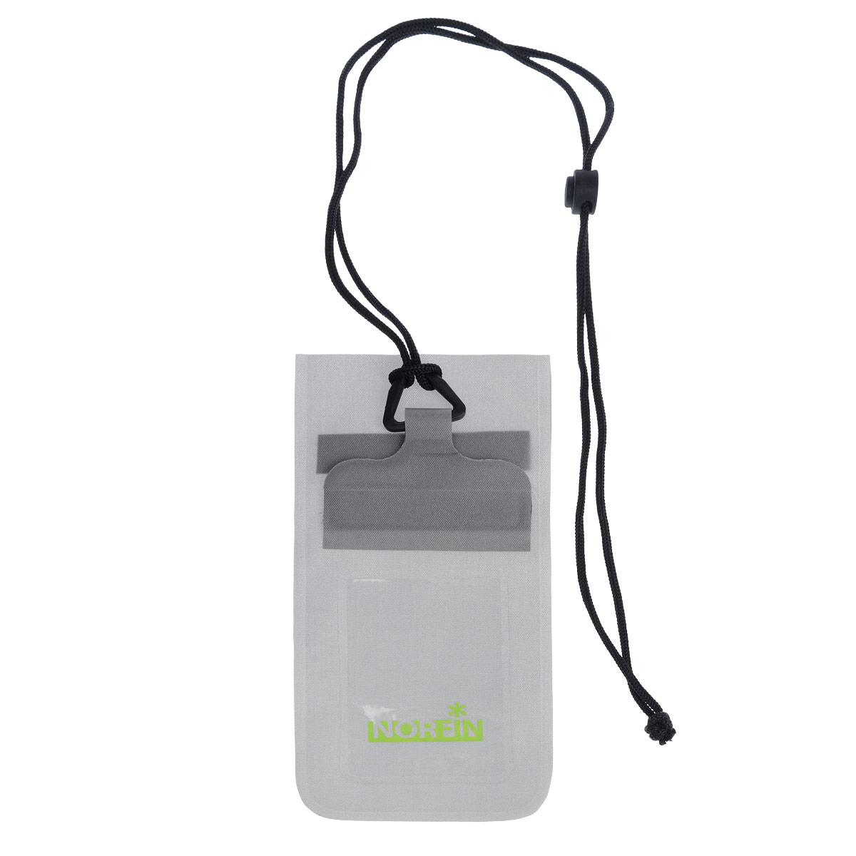 Гермочехол Norfin Dry Case 02, цвет: серый, 23,5 см х 11 смNF-40307Гермочехол нагрудный Norfin Dry Case 02 предназначен для защиты небольших предметов от воды: документы, телефон, плеер и так далее.Идеален для защиты телефонов самого маленького и большого размера, с размером диагонали до 5. Пленка гермочехла чувствительна к теплу рук, можно пользоваться телефоном с сенсорным экраном не вынимая его из чехла.