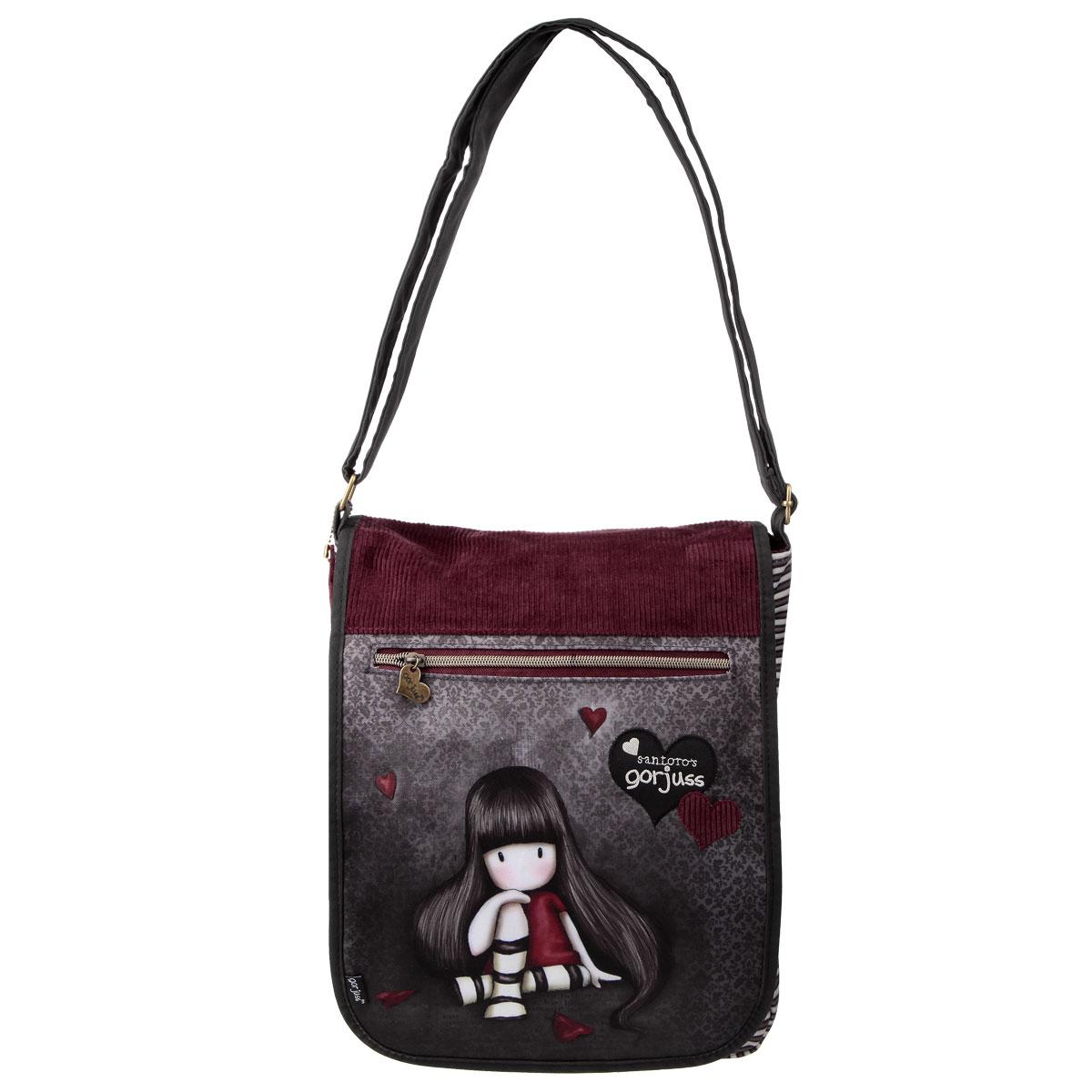 Сумка молодежная Santoro Gorjuss, цвет: серый, бордовый17932Оригинальная молодежная сумка Santoro Gorjuss прекрасно подойдет для учебы и повседневных дел. Стильная, легкая и удобная сумка с трогательным принтом станет незаменимым аксессуаром. Вместительное внутреннее отделение закрывается клапаном на липучке и молнией, в него поместятся все необходимые школьные принадлежности. На клапане расположен небольшой карман на молнии с металлическим замком в форме сердечка. Внутреннее отделение содержит дополнительный карман на молнии. Плотная и широкая лямка свободно регулируется по длине, что позволяет носить сумку школьникам разного возраста. Лаконичный и сдержанный дизайн подчеркнет индивидуальность и порадует своей функциональностью.