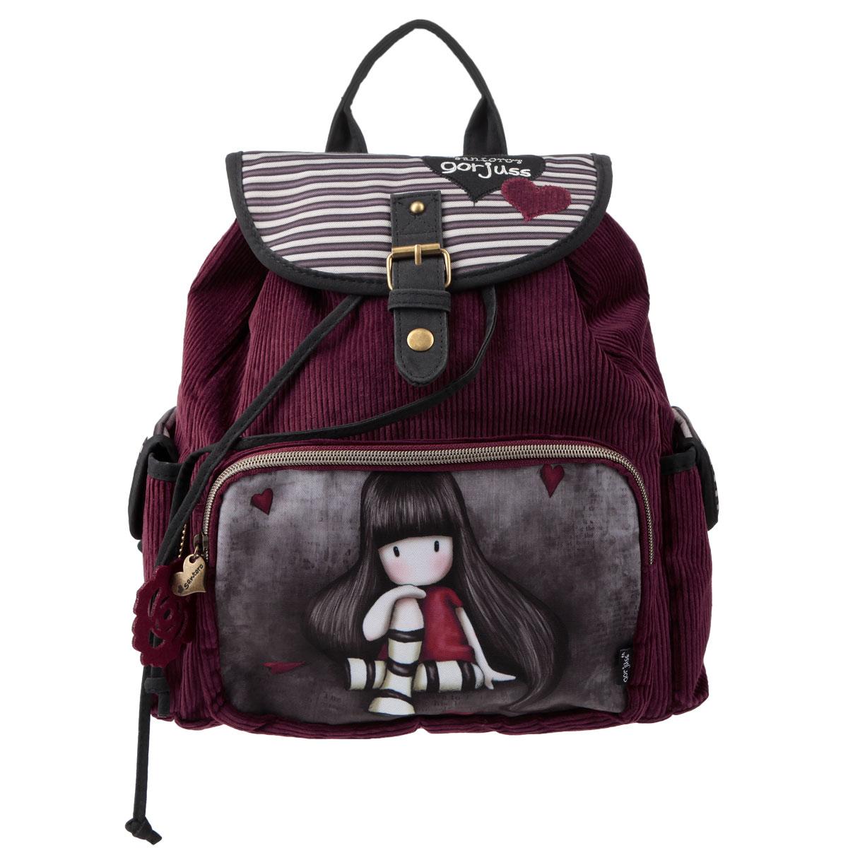 Рюкзак молодежный Santoro Gorjuss, цвет: бордовый, серый72523WDСтильный рюкзак Santoro Gorjuss для очаровательной модницы с трогательным принтом - это идеальная модель для учебы или отдыха. Легкий и удобный рюкзак станет незаменимым аксессуаром. Вместительное внутреннее отделение закрывается клапаном на кнопке и шнурком, в него поместятся все необходимые школьные принадлежности. Дополнительный фронтальный карман закрывается на молнию с металлическим замком в форме сердечка и предназначен для средних и мелких предметов, боковые кармашки закрываются на кнопки. Внутреннее отделение содержит дополнительный карман на молнии и два небольших открытых кармана. Лямки рюкзака свободно регулируются по длине, обеспечивая удобство и комфорт, ручка сверху позволяет с легкостью носить его в руках. Лаконичный и сдержанный дизайн подчеркнет индивидуальность и порадует своей функциональностью.