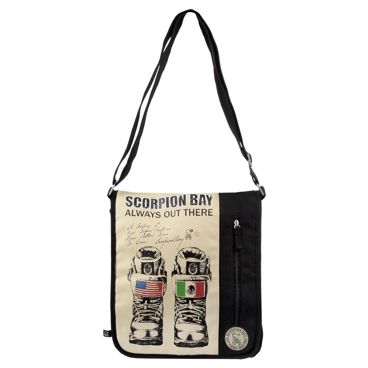 Сумка молодежная Scorpion Bay, цвет: черный, бежевыйDV-AB11050/1/14Оригинальная молодежная сумка Scorpion Bay прекрасно подойдет для учебы, занятий спортом и повседневных дел. Стильная, легкая и удобная сумка с броской нашивкой станет незаменимым аксессуаром. Вместительное внутреннее отделение закрывается на клапан на липучке, в него поместятся все необходимые школьные принадлежности или спортивная форма. На задней стороне большой открытый карман. Внутреннее отделение содержит дополнительный карман на молнии и два небольших открытых кармана. Плотная и широкая лямка свободно регулируется по длине, что позволяет носить сумку школьникам разного возраста. Лаконичный и сдержанный дизайн подчеркнет индивидуальность и порадует своей функциональностью.