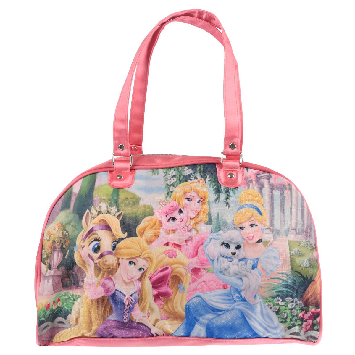Сумочка Princess, цвет: розовый. PRCB-UT4-403437397Стильная сумочка Princess порадует любую модницу и поклонницу мультфильма.Сумочка имеет одно вместительное отделение, закрывающееся на молнию. Лицевая сторона сумочки оформлена изображением трех принцесс с животными. Сумочка оснащена ручками для переноски в руке. Высота ручек 20 см. Каждая юная поклонница популярного мультфильма будет рада такому аксессуару.Предназначено для детей 7-10 лет.