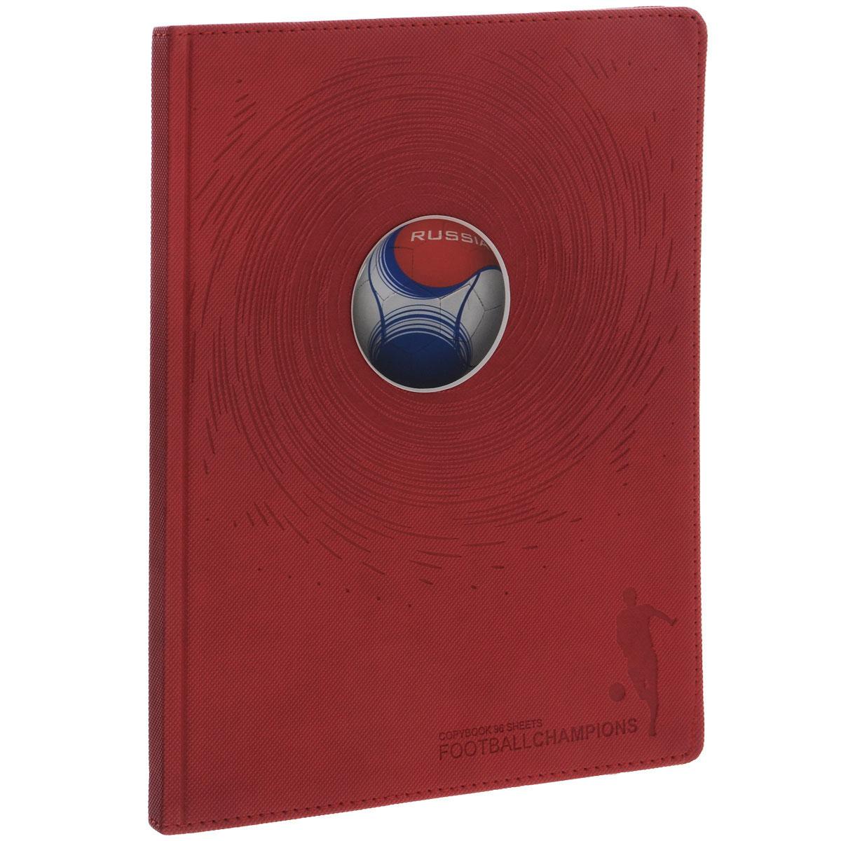 Тетрадь Альт Футбольный мяч. Россия, 96 листов, формат А5+, цвет: красный7-96-877