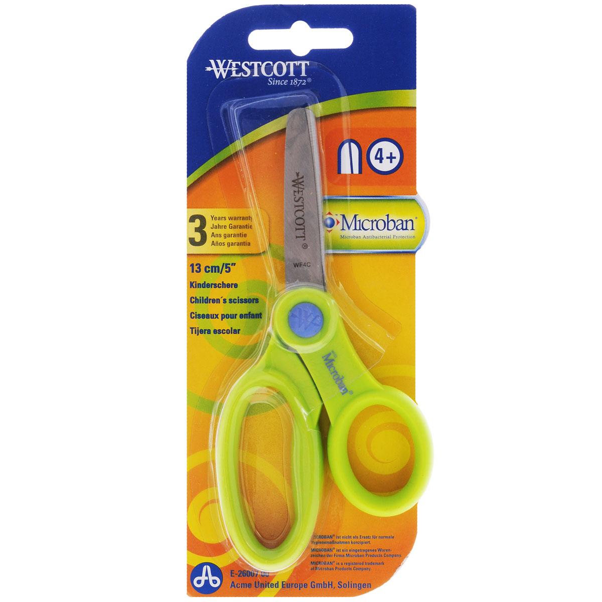 Ножницы детские Westcott, с антибактериальным покрытием, цвет: салатовый, 13 смFS-00897Детские ножницы Westcott предназначены для резки бумаги, картона, текстиля. Лезвия выполнены из особо прочной нержавеющей стали, пластиковые ручки адаптированы для детской руки.Антибактериальное покрытие Microban эффективно удаляет с поверхности ножниц 99% бактерий, обеспечивая надежную, длительную и антибактериальную защиту ребенка на протяжении всего срока службы. Рекомендуемый возраст: от 4 лет.