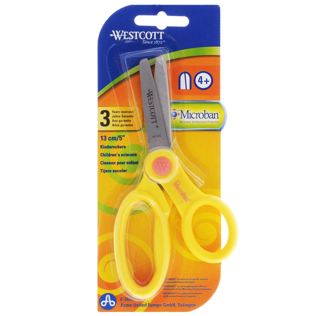 Ножницы детские Westcott, с антибактериальным покрытием, цвет: желтый, 13 смFS-36052Детские ножницы Westcott предназначены для резки бумаги, картона, текстиля. Лезвия выполнены из особо прочной нержавеющей стали, пластиковые ручки адаптированы для детской руки.Антибактериальное покрытие Microban эффективно удаляет с поверхности ножниц 99% бактерий, обеспечивая надёжную, длительную и антибактериальную защиту ребенка на протяжении всего срока службы. Рекомендуемый возраст: от 4 лет.