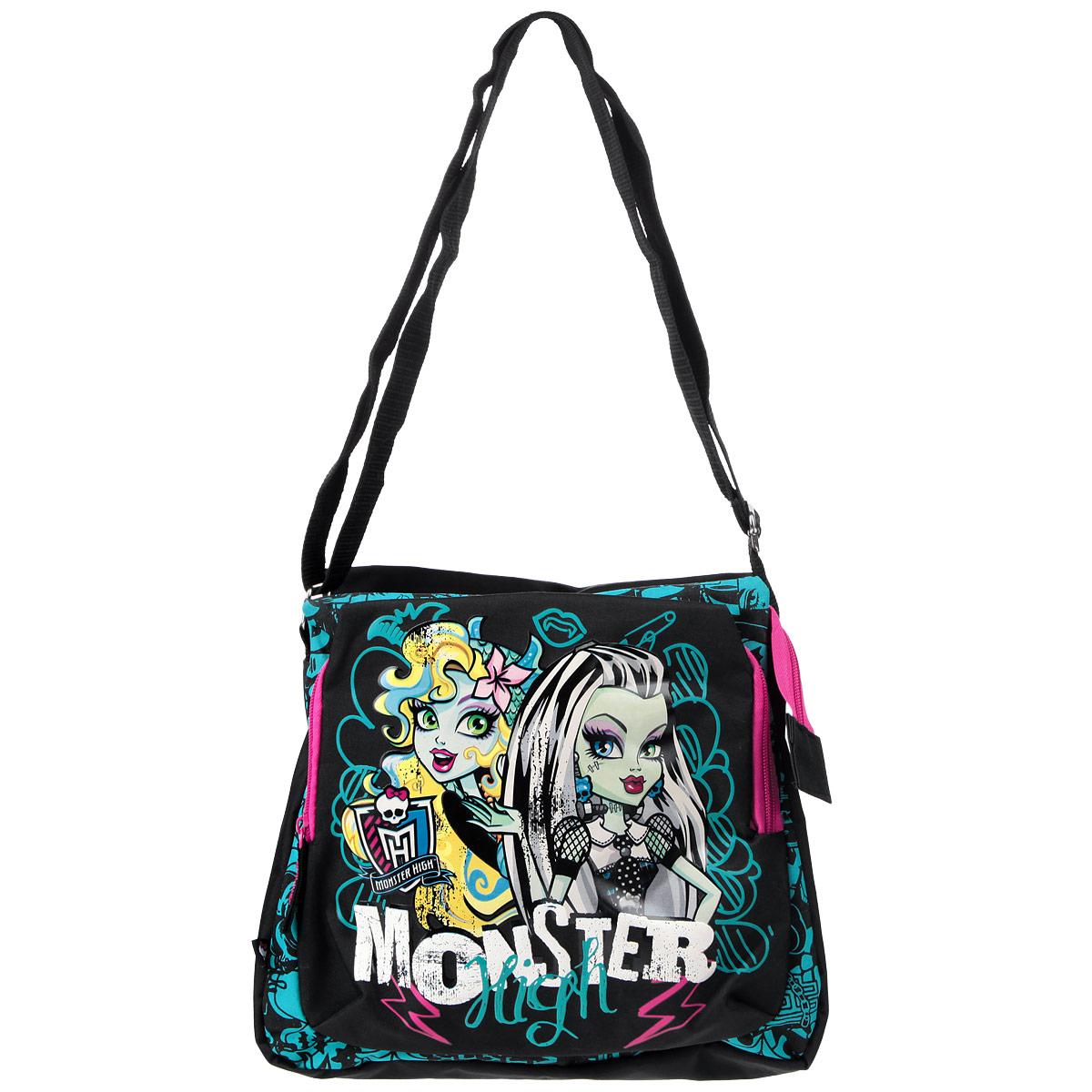 Сумка детская Monster High, цвет: черный, бирюзовый. MHBA-UT1-501372523WDСумка на плечо Monster High трапециевидной формы подчеркнет ваш безупречный вкус и послужит отличным аксессуаром на каждый день. Сумка способна вместить ультрамодные гаджеты, документы, и школьные принадлежности. Внутренняя отделка выполнена качественной подкладочной тканью. Сумка содержит одно отделение с закрытым карманом на молнии. Вместительный наружный карман на молнии предназначен для средних и мелких предметов. Также карман на молнии расположен на задней стороне. У сумки широкая лямка, регулируемая по длине, что делает ее очень удобной и практичной. Торопитесь примерить на себя новый стильный образ с сумкой Monster High!