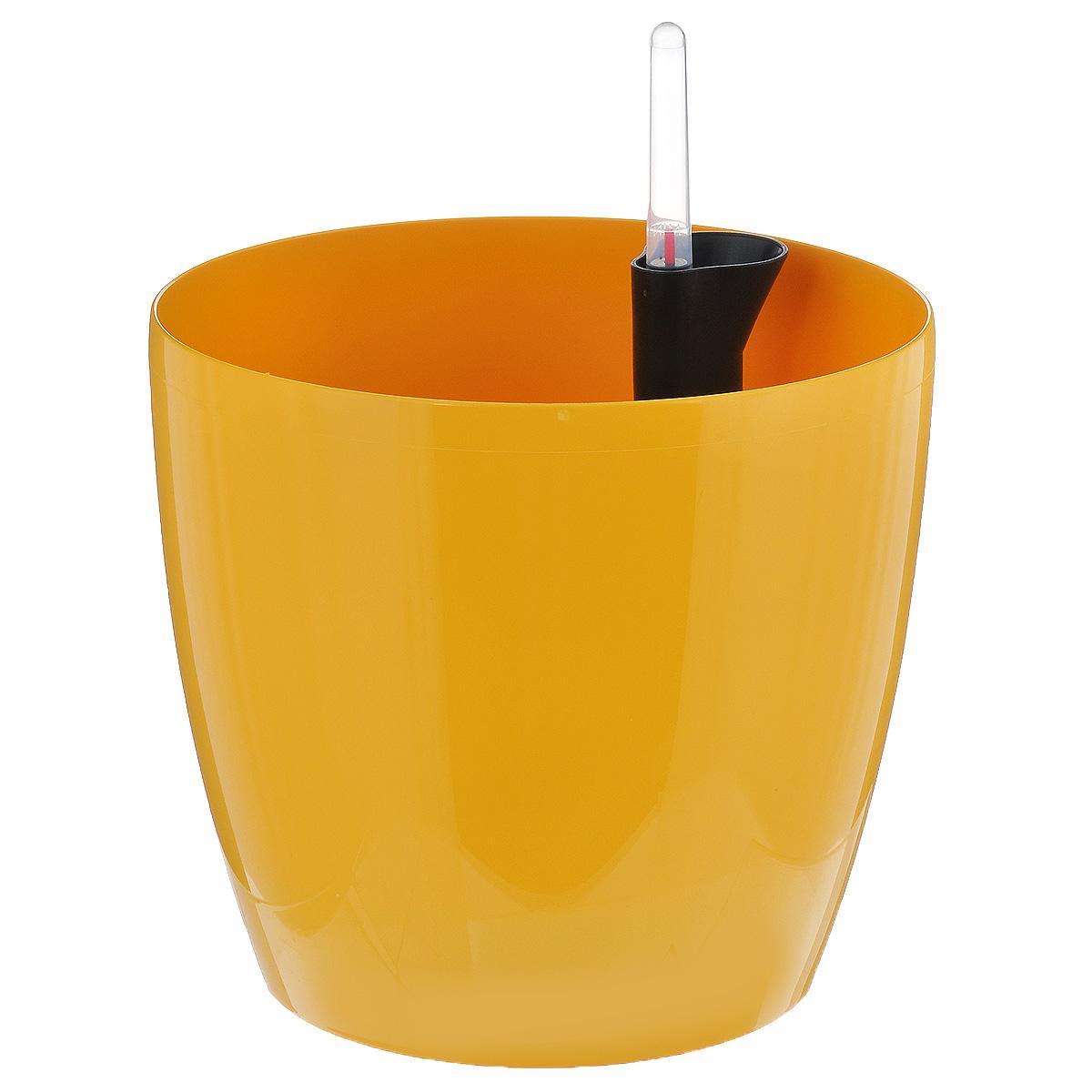 Кашпо Prosperplast Coubi, с системой автополива, цвет: желтый, диаметр 19 см1671695Кашпо Prosperplast Coubi, изготовленное из высококачественного пластика, идеальное решение для тех, кто регулярно забывает поливать комнатные растения. Кашпо имеет уникальную систему автополива, благодаря которой корневая система растения непрерывно снабжается влагой из резервуара. Уровень воды в резервуаре контролируется с помощью специального индикатора. В зависимости от размера кашпо и растения воды хватает на 2-12 недель. Стильный дизайн позволит украсить растениями офис, кафе или любую комнату, и при этом система автополива будет увлажнять почву без вашего вмешательства. Кашпо Prosperplast Coubi с системой автополива упростит уход за вашими цветами и поможет растениям получать то количество влаги, которое им необходимо в данный момент времени.Диаметр: 19 см. Высота стенки: 17,5 см.