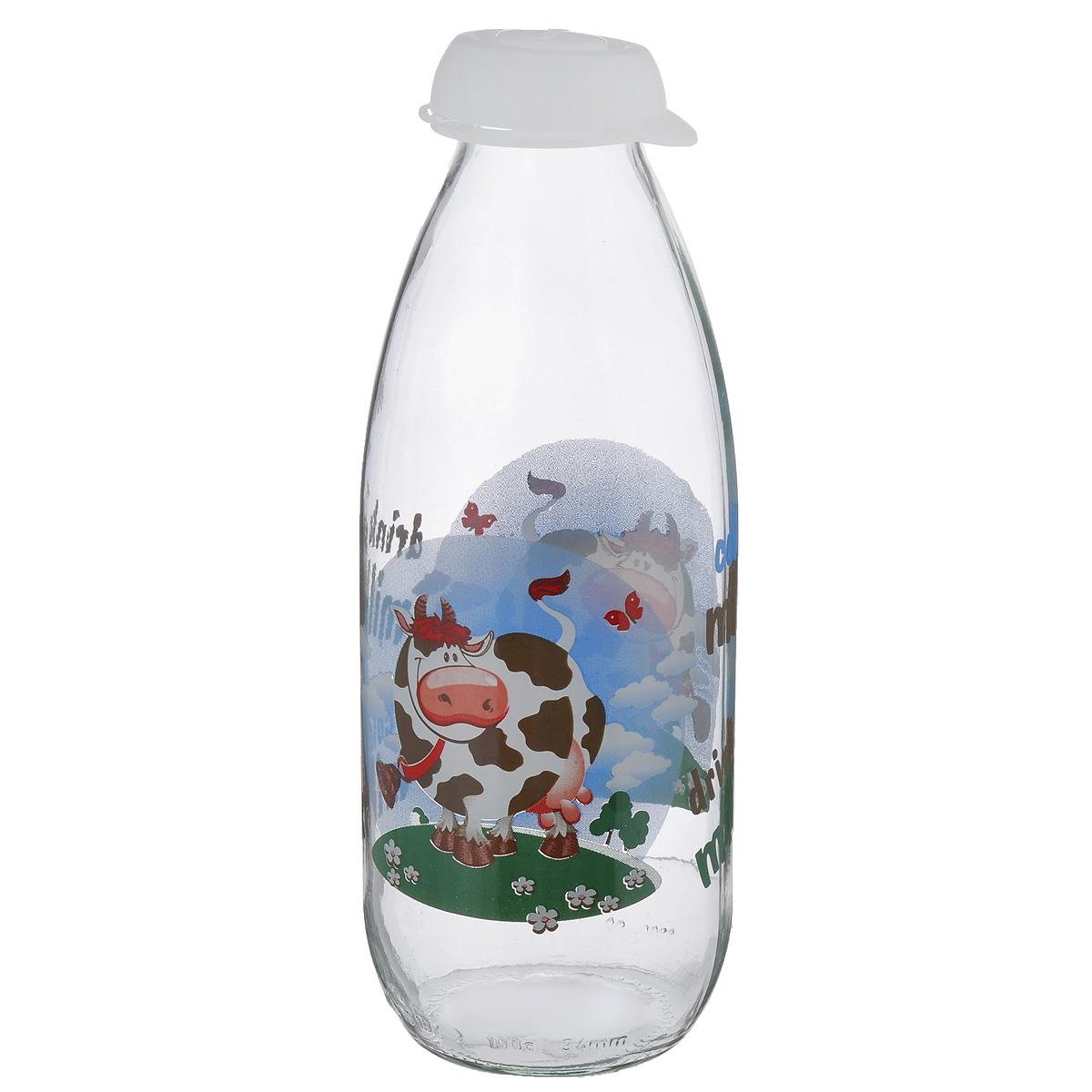 Бутылка для молока Herevin, цвет: прозрачный, белый, 1 л. 111708-000VT-1520(SR)Бутылка Herevin, выполненная из стекла, позволит украсить любую кухню, внеся разнообразие, как в строгий классический стиль, так и в современный кухонный интерьер. Она легка в использовании и оснащена пластиковой откидной крышкой. Благодаря этому внутри сохраняется герметичность, и молоко дольше остается свежим. Стенки бутылки украшены изображением забавной коровы. Оригинальная бутылка для молока будет отлично смотреться на вашей кухне.Диаметр (по верхнему краю): 4 см.Диаметр основания: 7 см.Высота: 23 см.