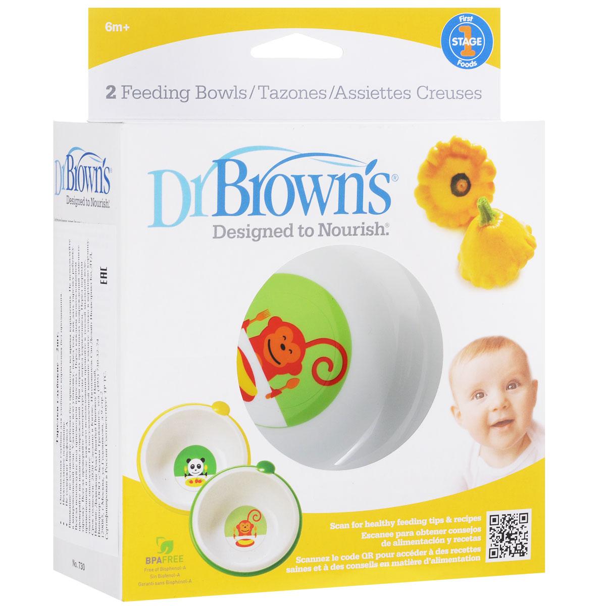 Набор детских тарелок Dr.Browns, диаметр 14 см, 2 шт730_белая/обезьянаНабор Dr.Browns, изготовленные из прочного и безопасного полипропилена, включает в себя две глубокие тарелочки. Изделия не содержат бисфенол А и оформлены рисунком с изображениями симпатичных зверюшек. С помощью этого набора ваш малыш может легко научиться есть самостоятельно. Тарелки эргономичной формы удобно держать при кормлении малыша. Нескользящая основа предохраняет тарелки от случайного скольжения по поверхности стола или скатерти. Тарелки можно мыть в посудомоечной машине. Нельзя использовать в микроволновой печи.
