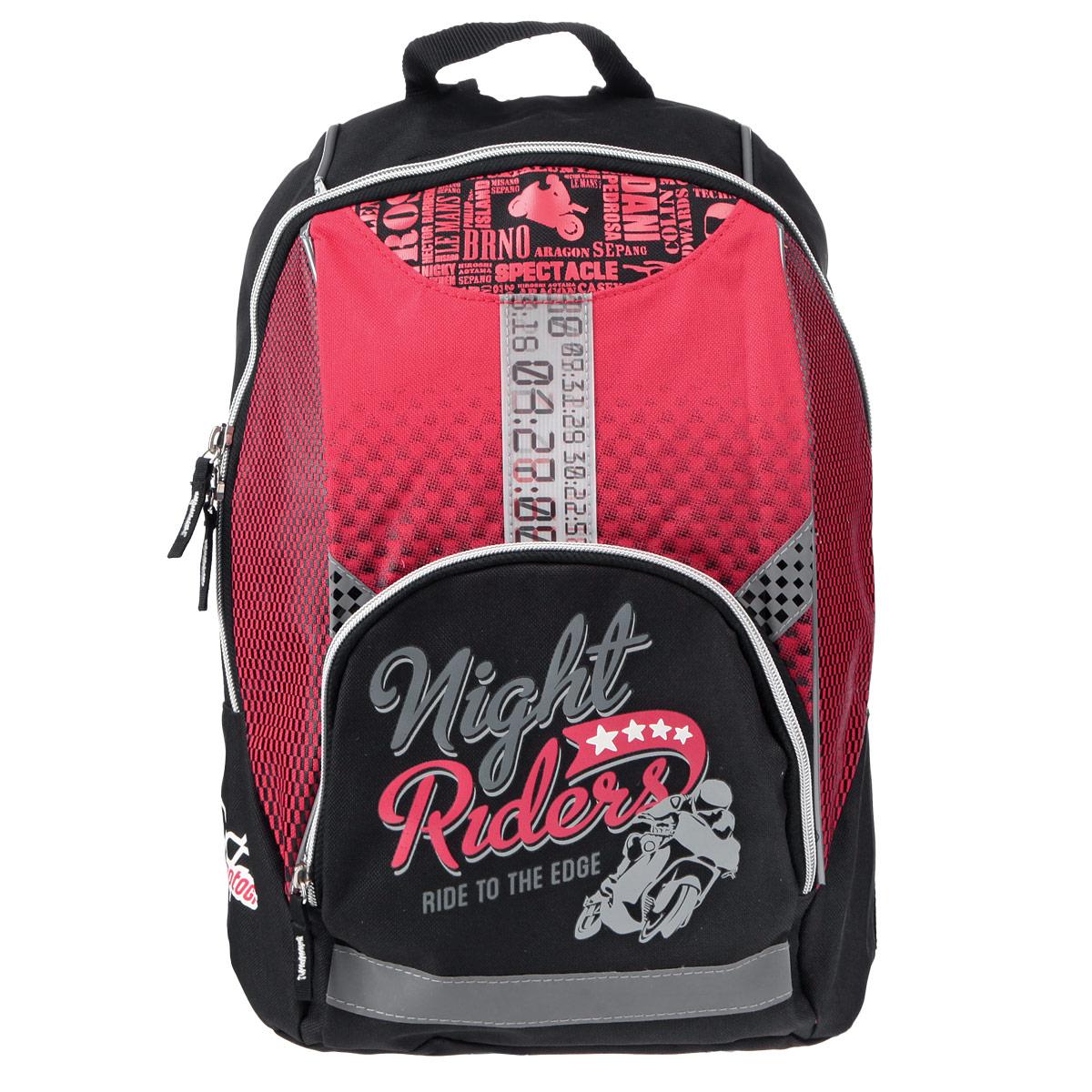 Рюкзак детский Motor GP, цвет: красный, черный72523WDДетский рюкзак Motor GP - это стильный вместительный рюкзак, который придется по вкусу любому ребенку. Рюкзак выполнен из плотного износостойкого материала черного цвета с красными вставками. Состоит из одного отделения, закрывающегося на застежку-молнию. Внутри рюкзака находится просторный накладной карман на липучке. На фронтальной части рюкзака предусмотрен карман на молнии для мелочей. Корпус и дно рюкзака мягкие, спинка выполнена из поролона. Лямки специальной S-образной формы с поролоном и воздухообменным сетчатым материалом, регулируемые по длине. В рюкзаке Motor GP ваш ребенок с удовольствием будет носить свои вещи или любимые игрушки.