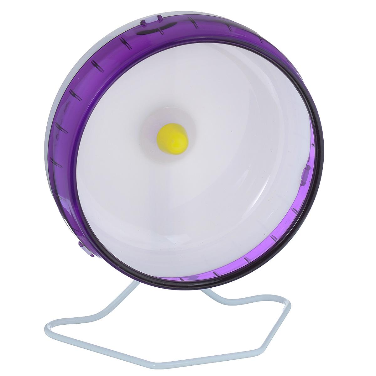 Колесо для грызунов I.P.T.S., цвет: белый, фиолетовый, диаметр 16,5 см0120710Колесо для грызунов I.P.T.S., изготовленное из прочного пластика, абсолютно бесшумное. Для грызунов очень важно постоянно разминать свои лапки и поддерживать физической форму. Именно поэтому одним из самых востребованных дополнительных аксессуаров для них являются различные приспособления для бега. Тренировки на колесе станут питомцу в радость и не позволят набрать лишний вес. Предназначено для сирийских и карликовых хомяков, а также мышей. Диаметр колеса: 16,5 см.