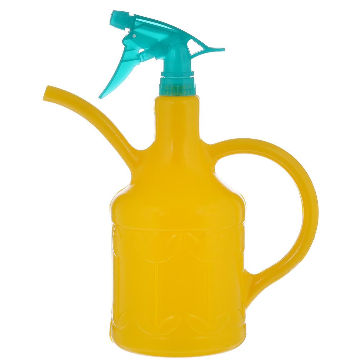 Лейка-опрыскиватель Кострома пластик Тюльпан, цвет: желтый, 1,8 л787502Лейка-опрыскиватель Тюльпан выполнена из высококачественного пластика и оформлена рельефным цветочным рисунком. Ее можно использовать для полива, так как она оснащена носиком и удобной ручкой. Также изделие снабжено распылителем для опрыскивания растений.