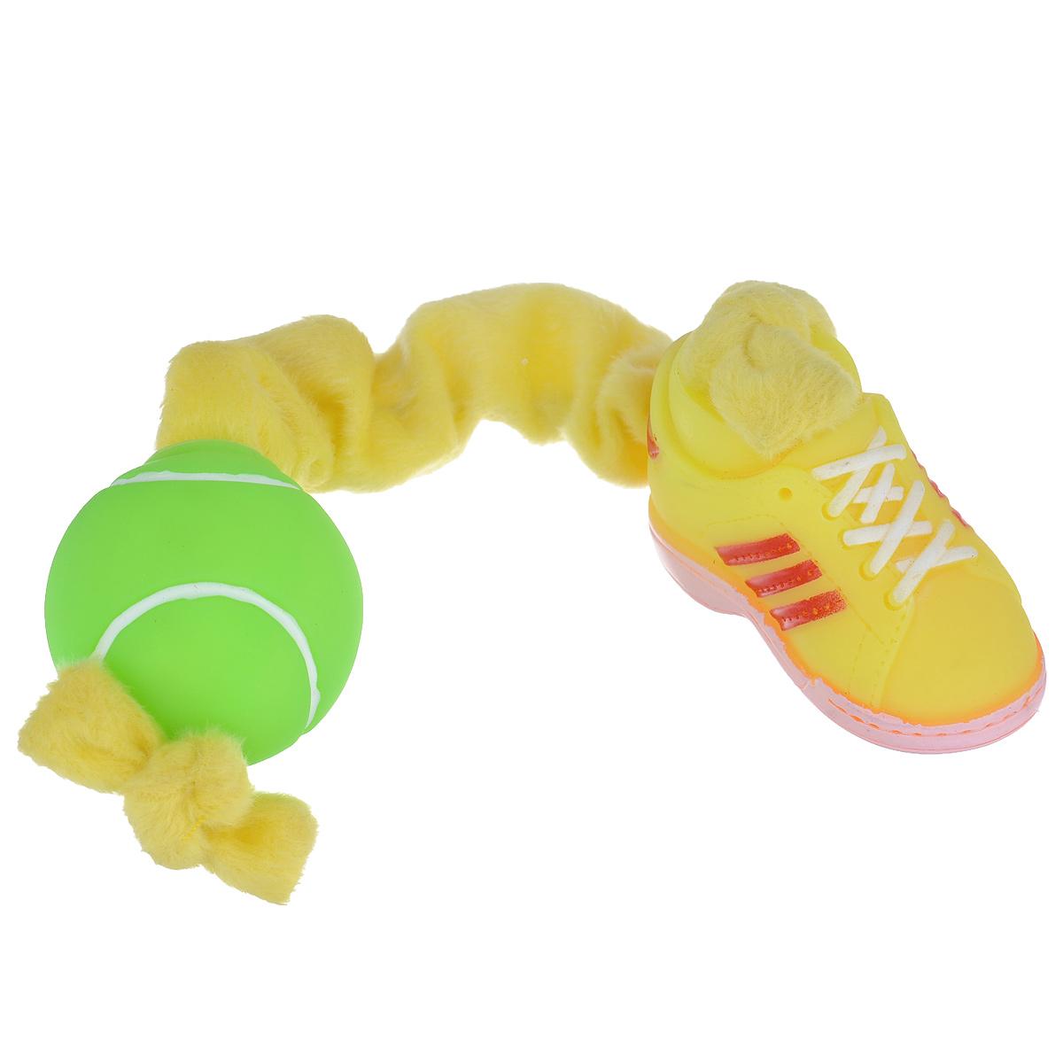 Игрушка для собак I.P.T.S. Ботинок и мяч, цвет: желтый, салатовый0120710Игрушка I.P.T.S. Ботинок и мяч, изготовленная из текстиля и резины, выполнена в виде мяча с одной стороны и ботинка с другой. Эластичная веревка позволяет собаке активно играть. Такая игрушка не навредит здоровью вашего питомца и увлечет его на долгое время.Общая длина игрушки: 24-32 см. Диаметр мяча: 5 см. Размер ботинка: 7,5 см х 4 см х 5,5 см.