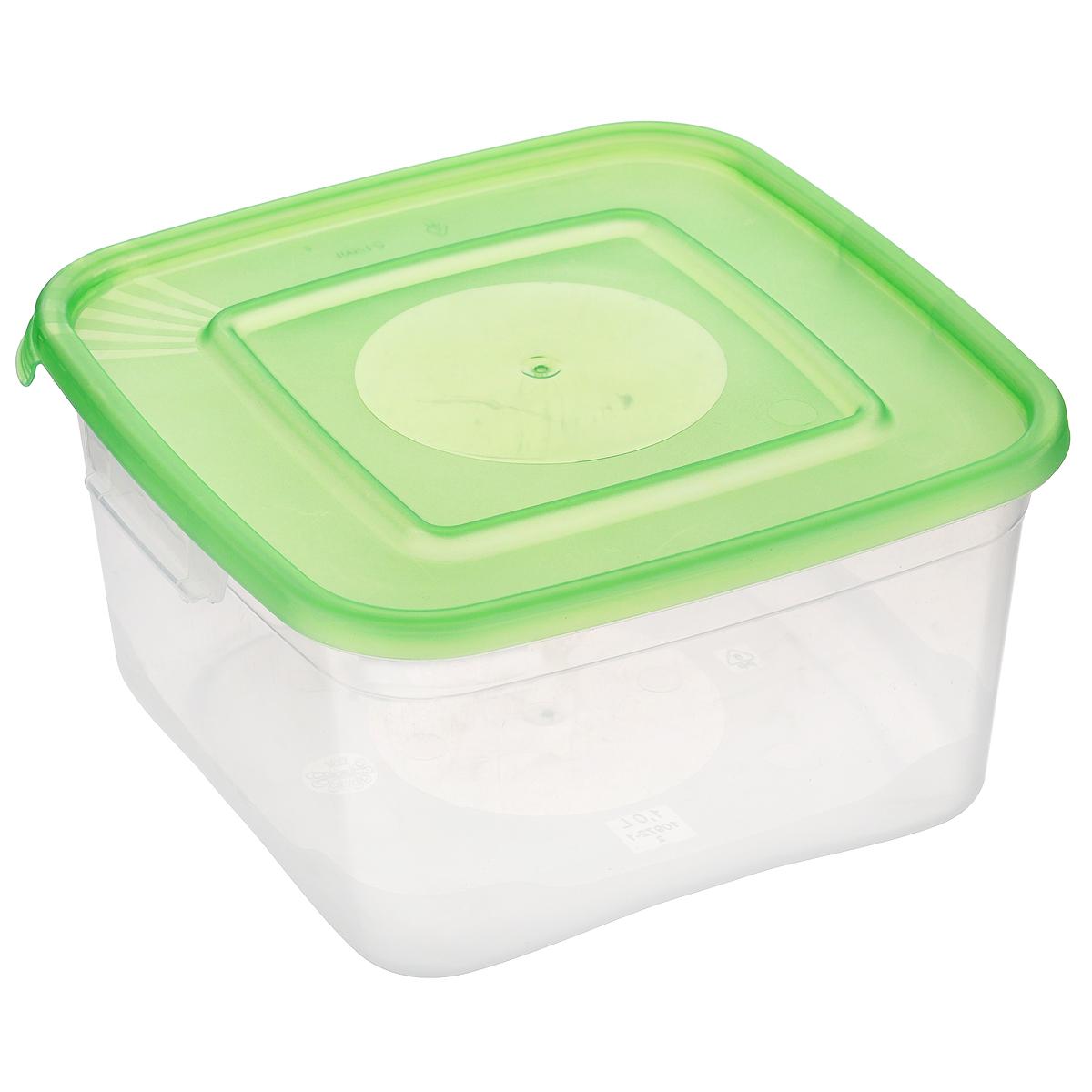 Контейнер Полимербыт Каскад, цвет: прозрачный, салатовый, 1 лVT-1520(SR)Контейнер Полимербыт Каскад квадратной формы, изготовленный из прочного пластика, предназначен специально для хранения пищевых продуктов. Крышка легко открывается и плотно закрывается.Контейнер устойчив к воздействию масел и жиров, легко моется. Прозрачные стенки позволяют видеть содержимое. Контейнер имеет возможность хранения продуктов глубокой заморозки, обладает высокой прочностью. Можно мыть в посудомоечной машине. Подходит для использования в микроволновых печах.